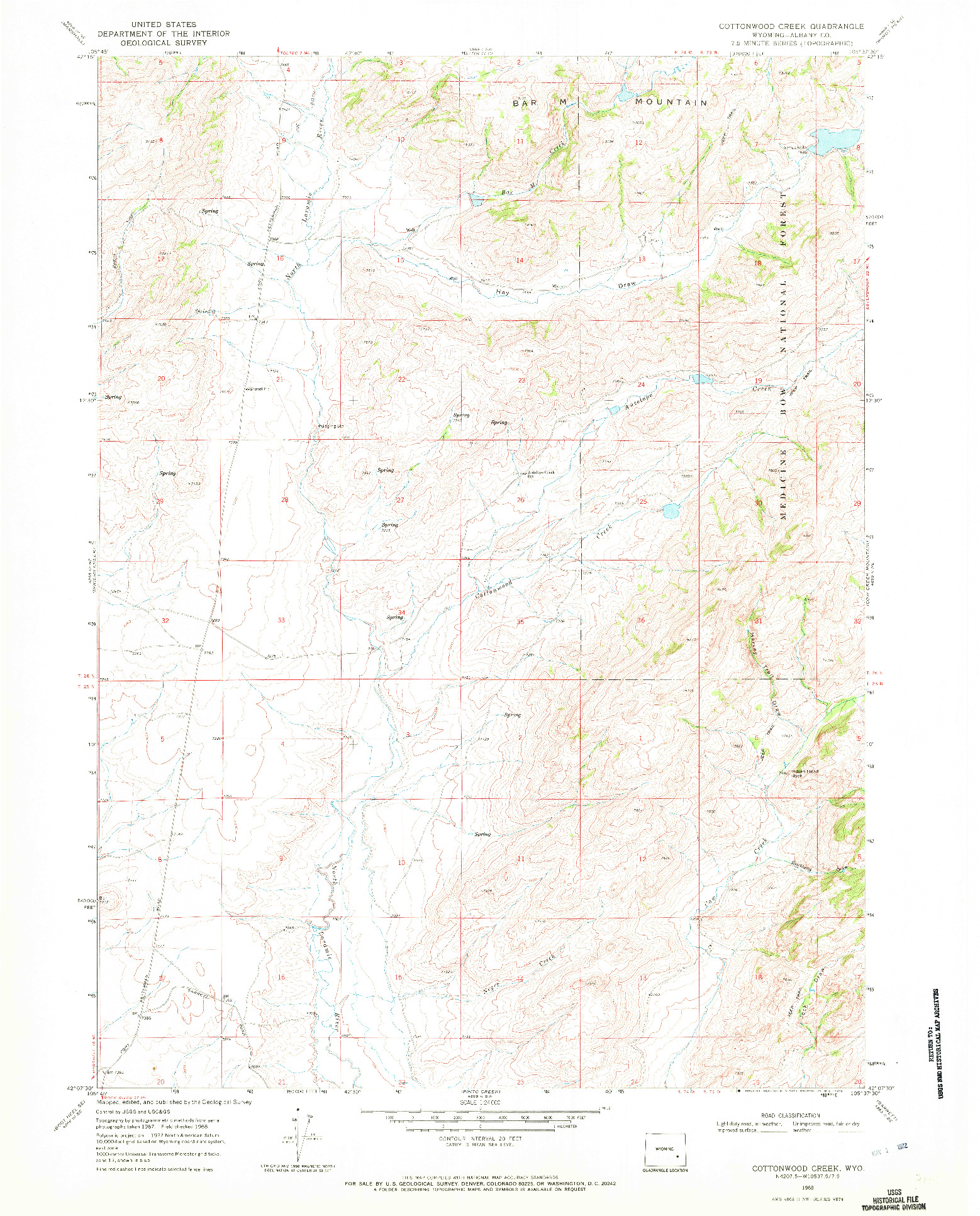 USGS 1:24000-SCALE QUADRANGLE FOR COTTONWOOD CREEK, WY 1968