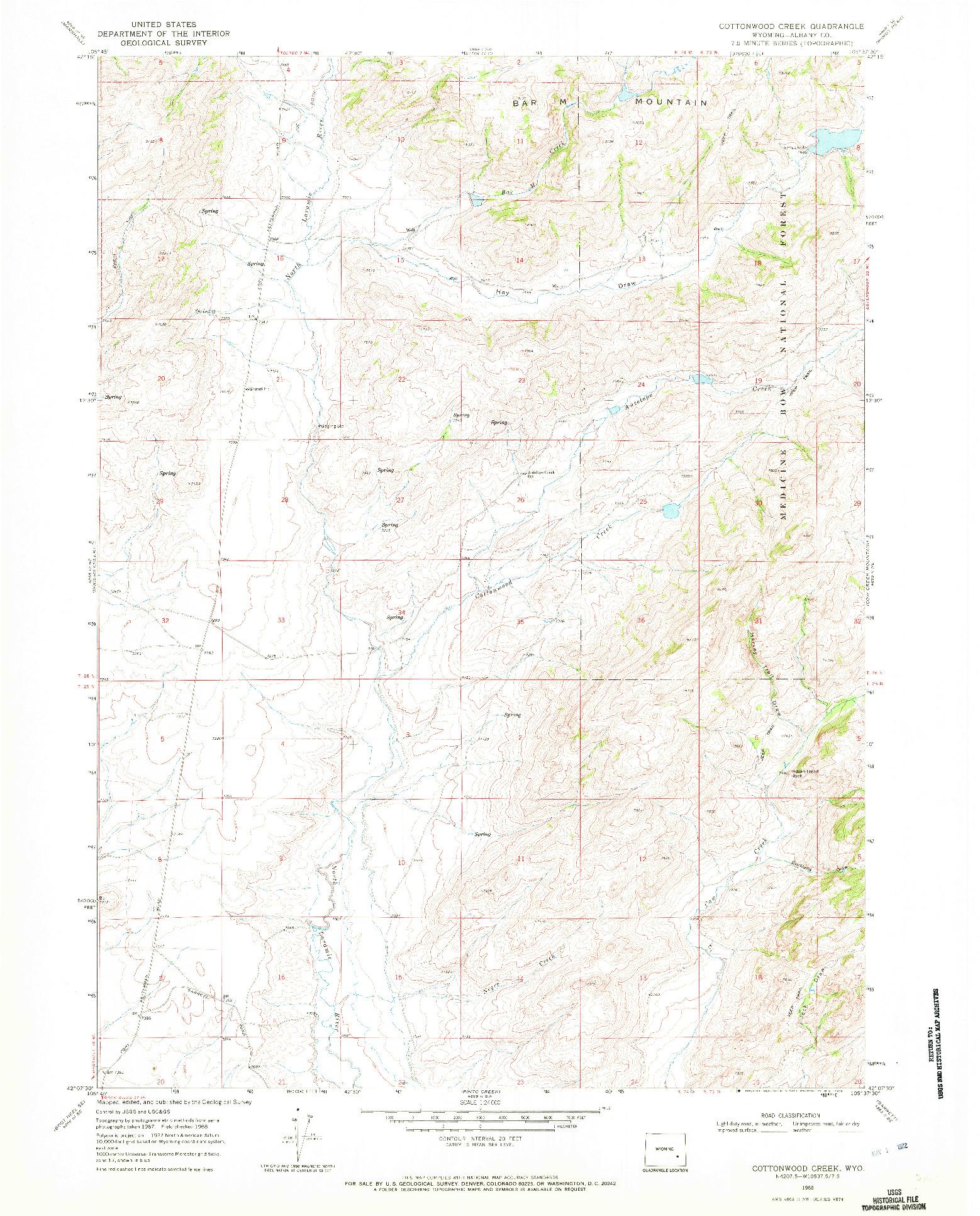 USGS 1:24000-SCALE QUADRANGLE FOR COTTONWOOD CREEK, WY 1968