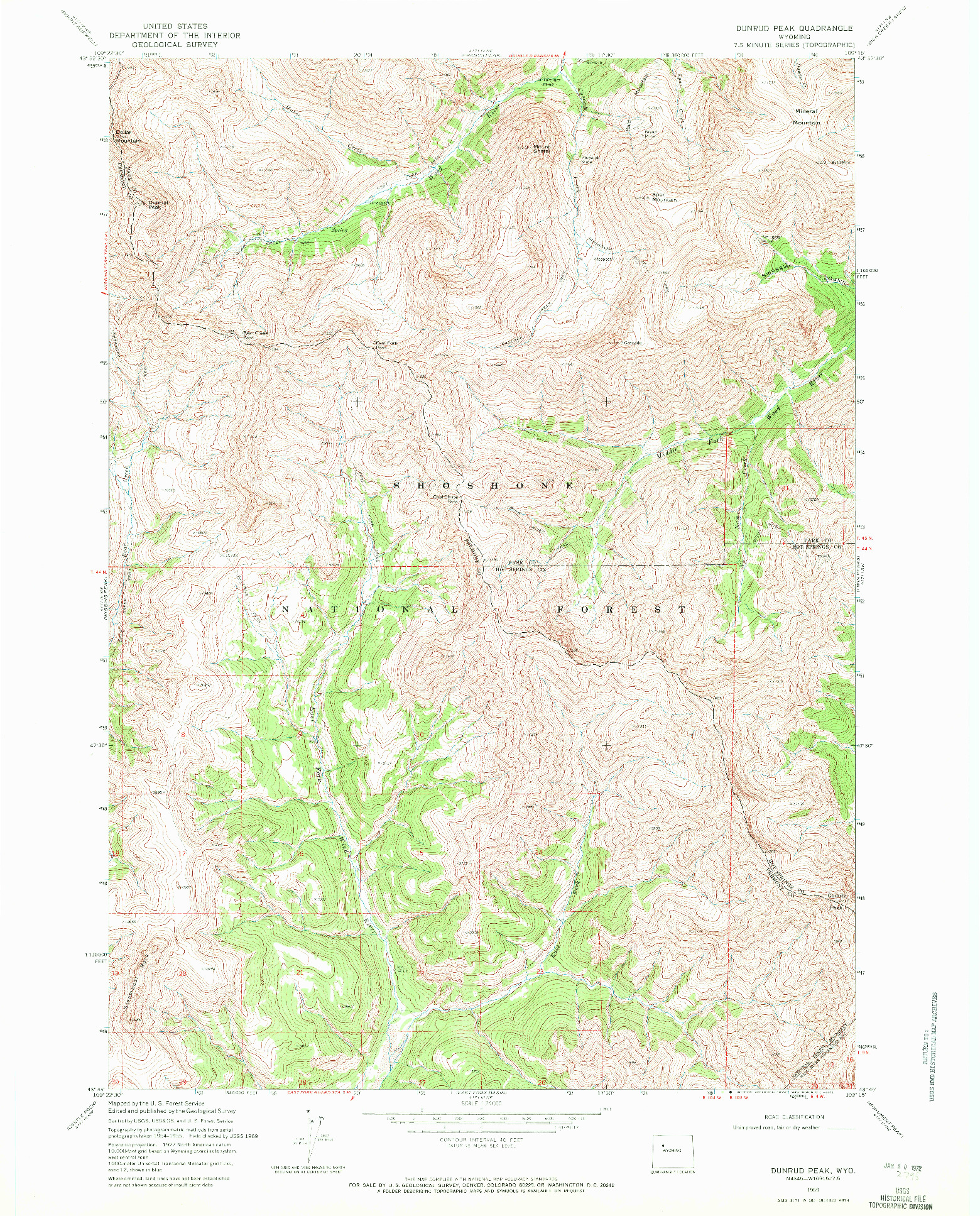 USGS 1:24000-SCALE QUADRANGLE FOR DUNRUD PEAK, WY 1969