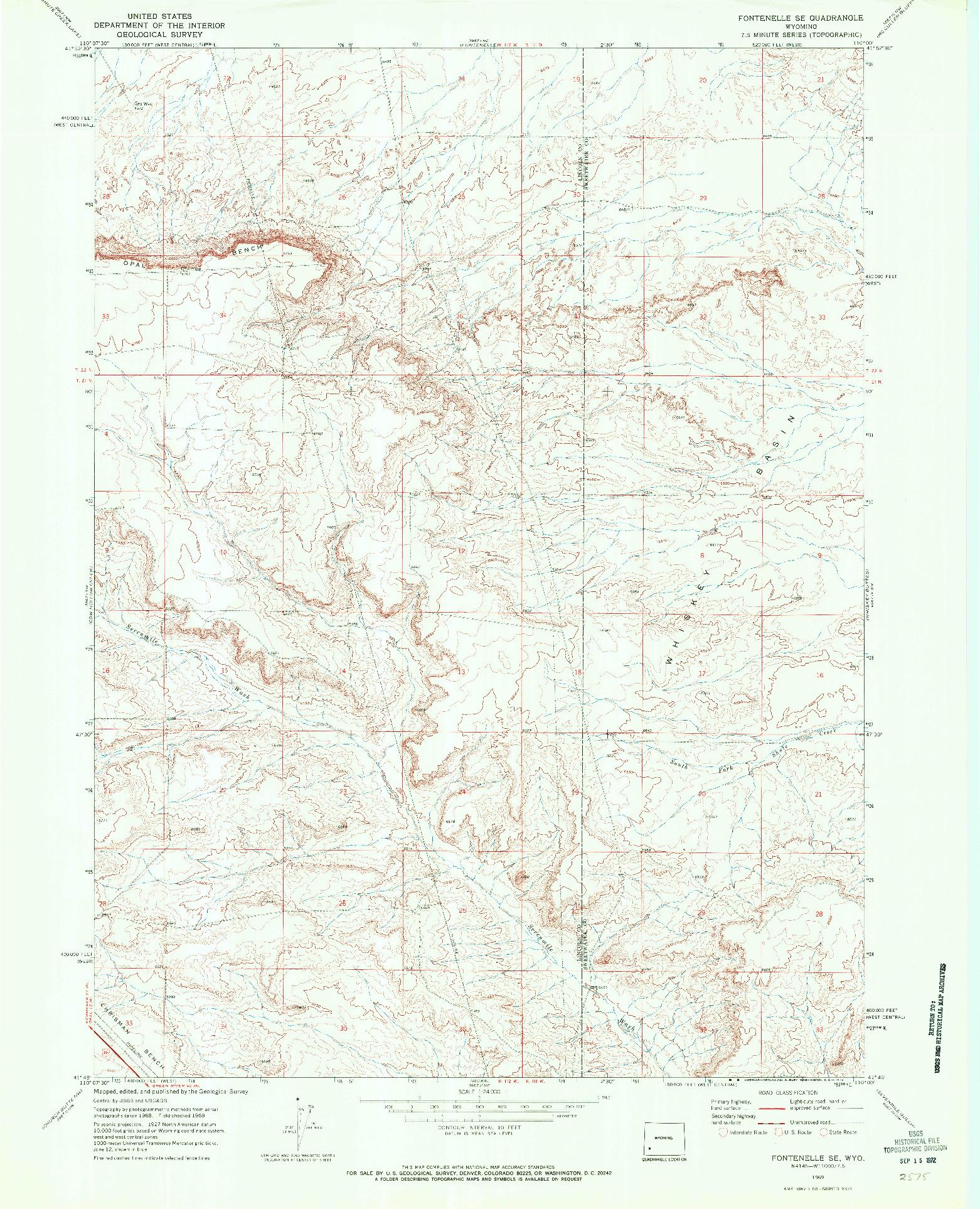 USGS 1:24000-SCALE QUADRANGLE FOR FONTENELLE SE, WY 1969