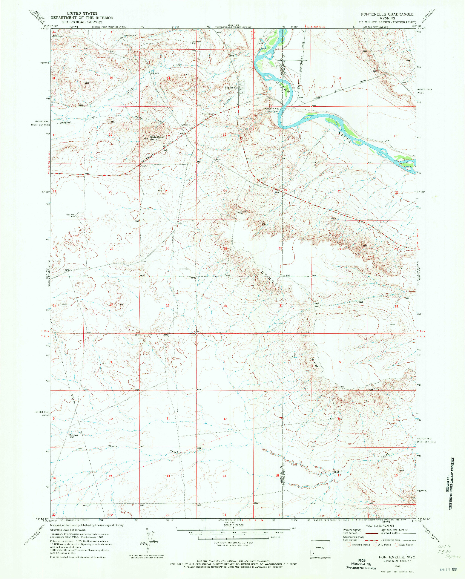 USGS 1:24000-SCALE QUADRANGLE FOR FONTENELLE, WY 1969