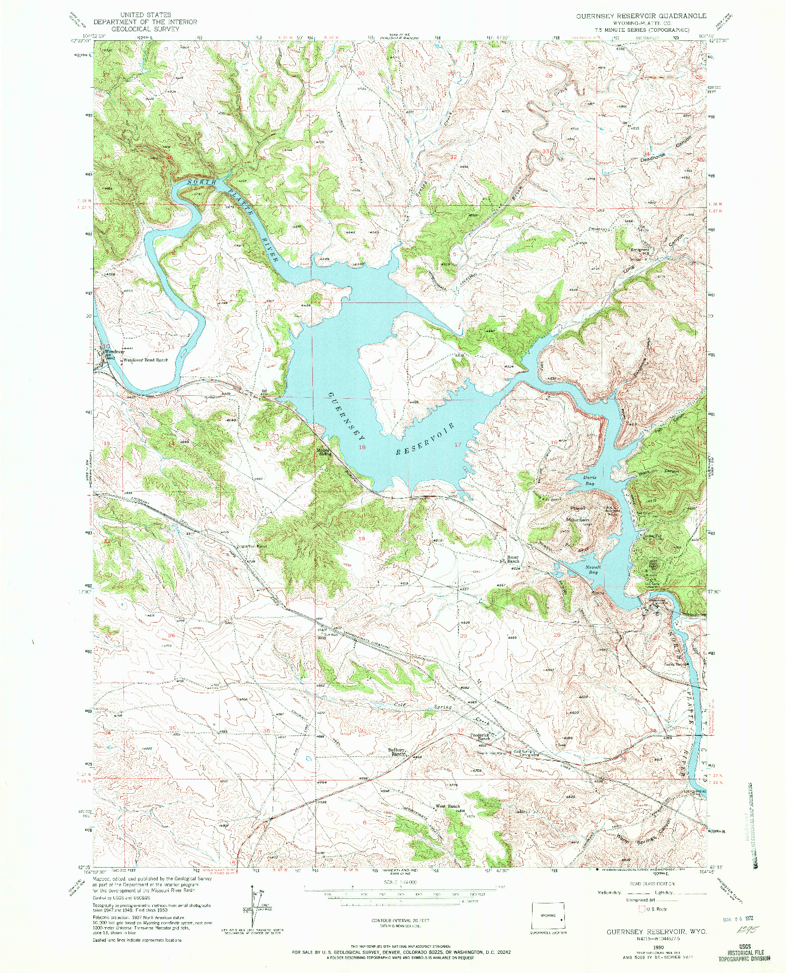 USGS 1:24000-SCALE QUADRANGLE FOR GUERNSEY RESERVOIR, WY 1971