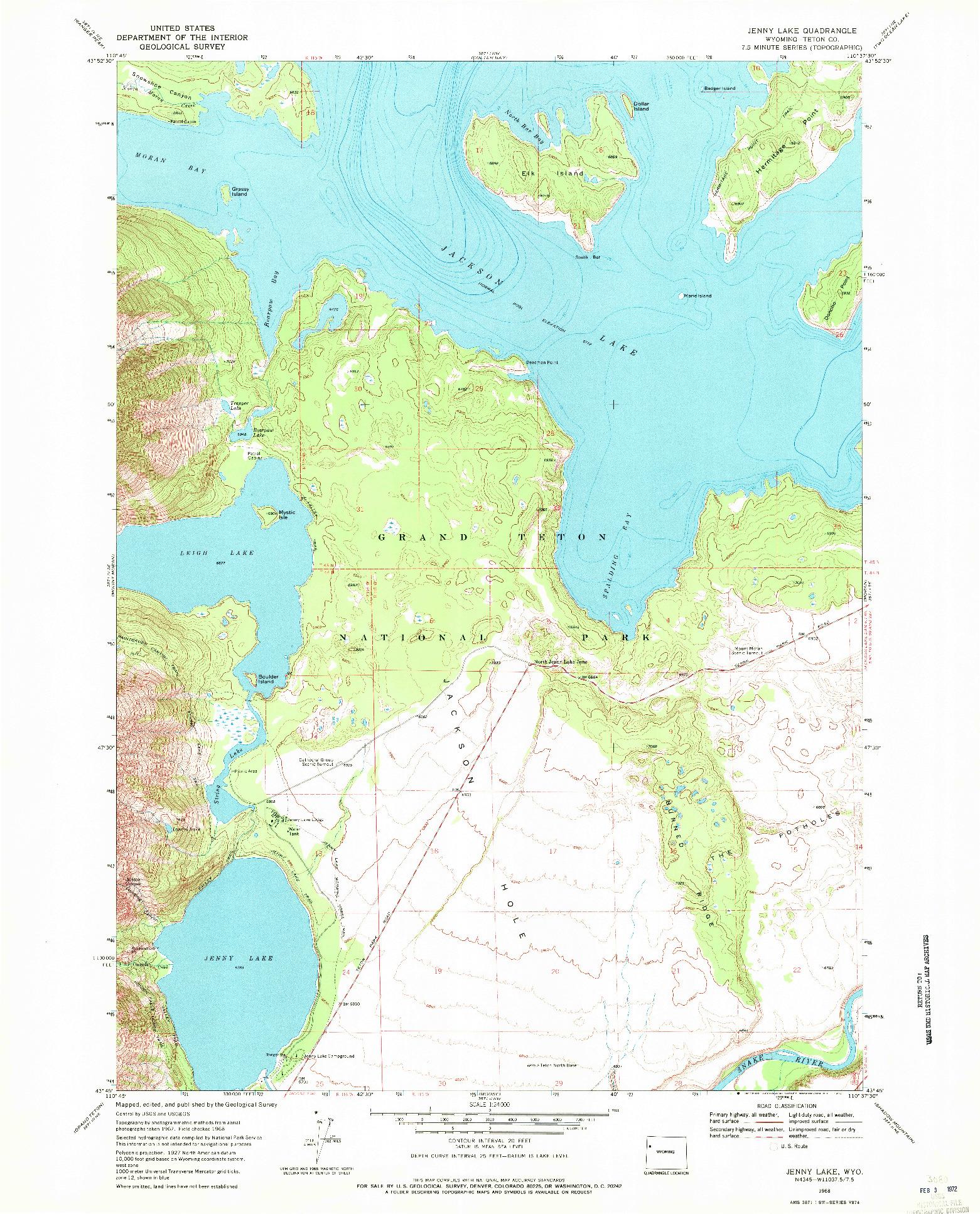 USGS 1:24000-SCALE QUADRANGLE FOR JENNY LAKE, WY 1968