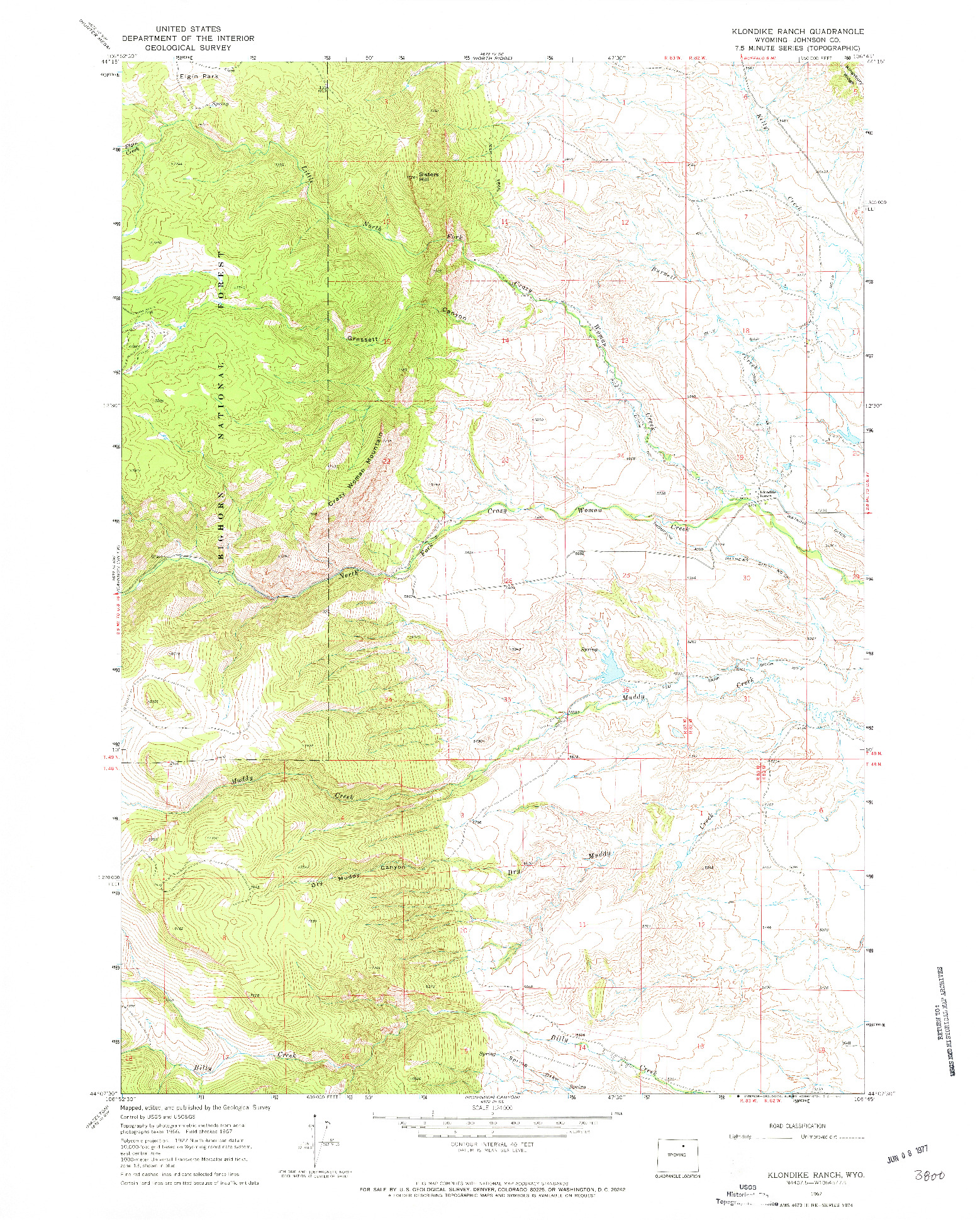 USGS 1:24000-SCALE QUADRANGLE FOR KLONDIKE RANCH, WY 1967