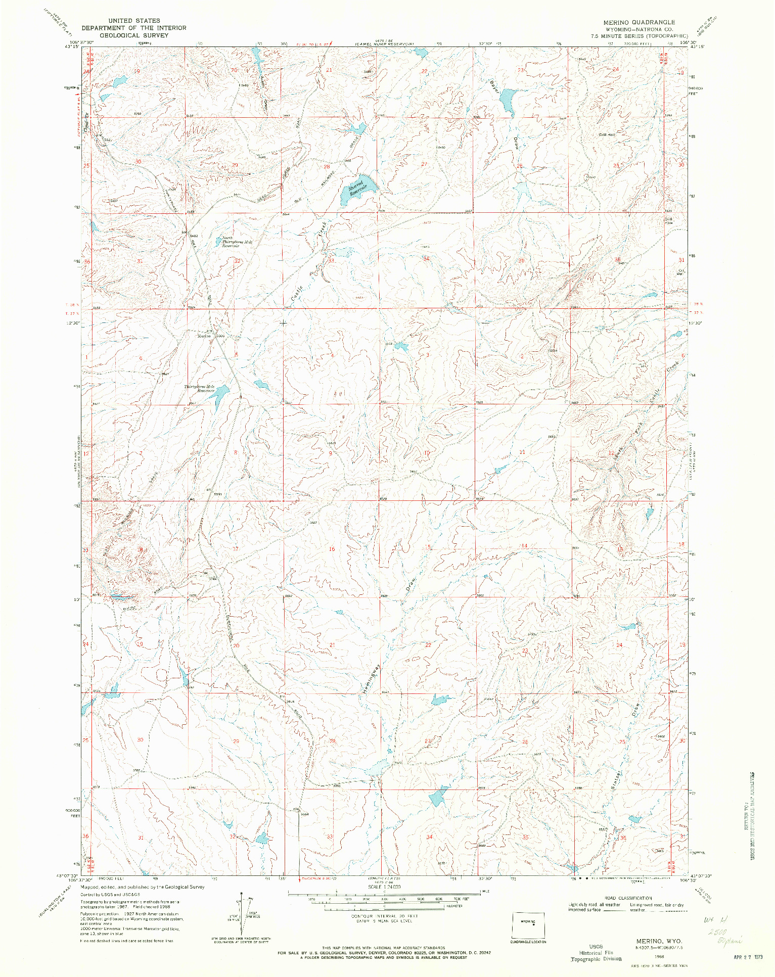 USGS 1:24000-SCALE QUADRANGLE FOR MERINO, WY 1968