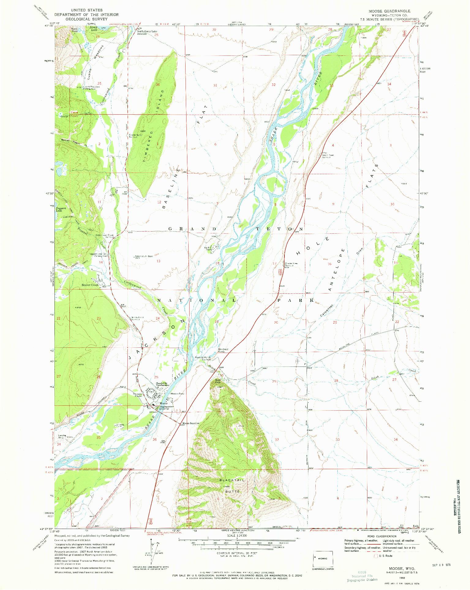 USGS 1:24000-SCALE QUADRANGLE FOR MOOSE, WY 1968