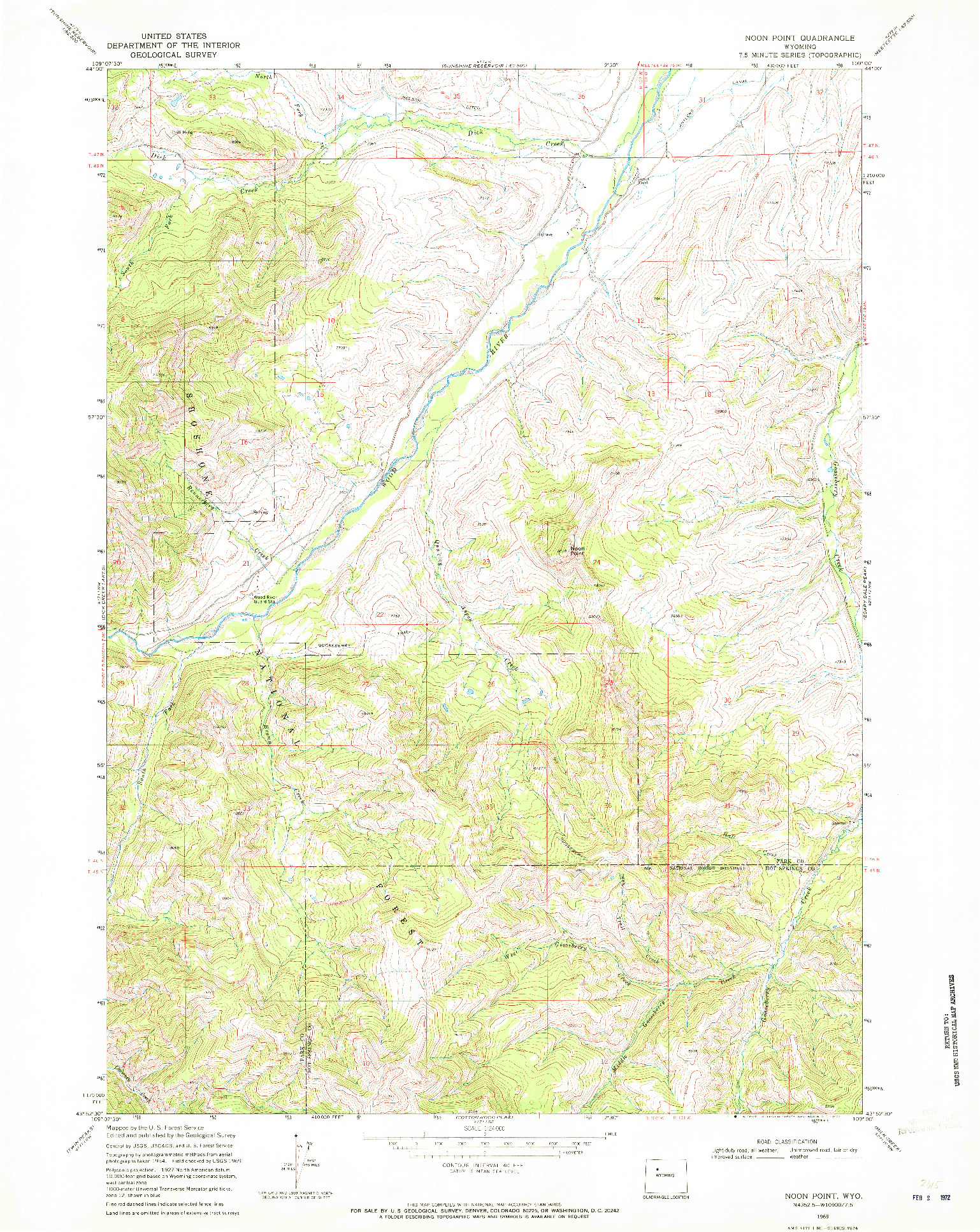 USGS 1:24000-SCALE QUADRANGLE FOR NOON POINT, WY 1969