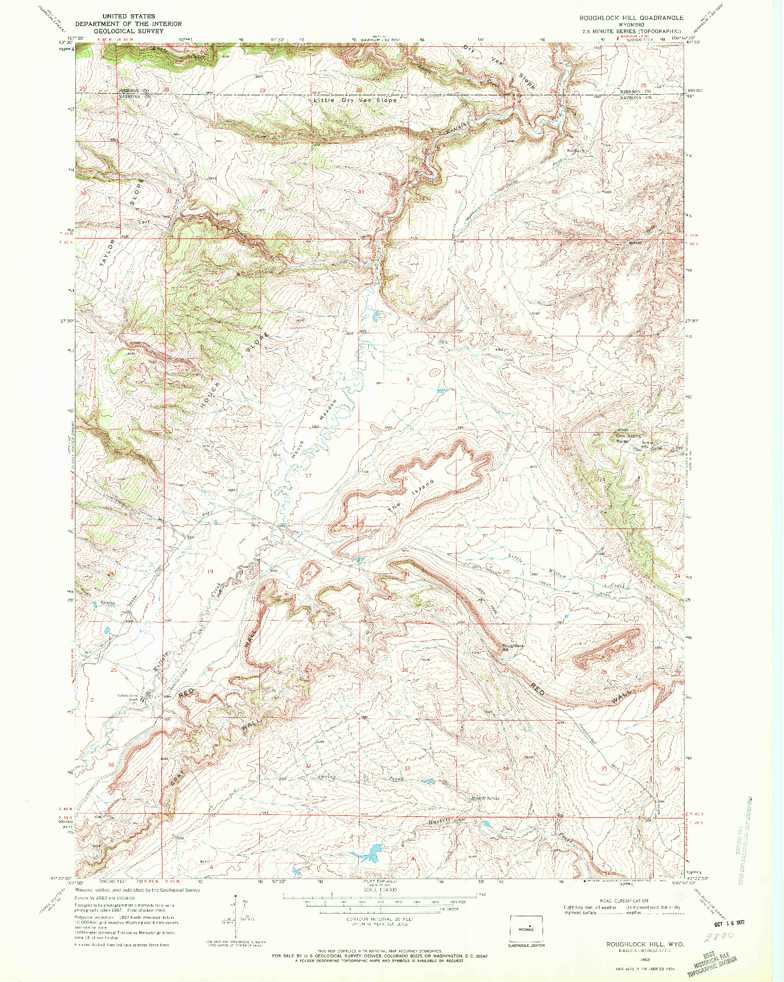 USGS 1:24000-SCALE QUADRANGLE FOR ROUGHLOCK HILL, WY 1968