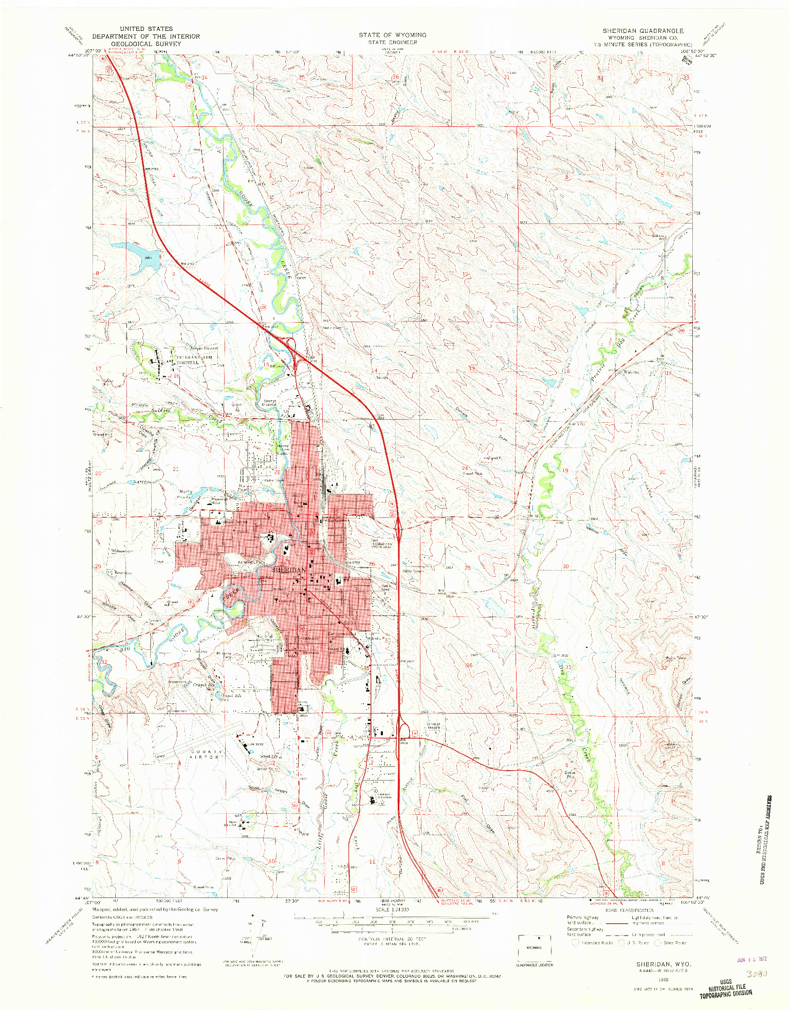 USGS 1:24000-SCALE QUADRANGLE FOR SHERIDAN, WY 1968