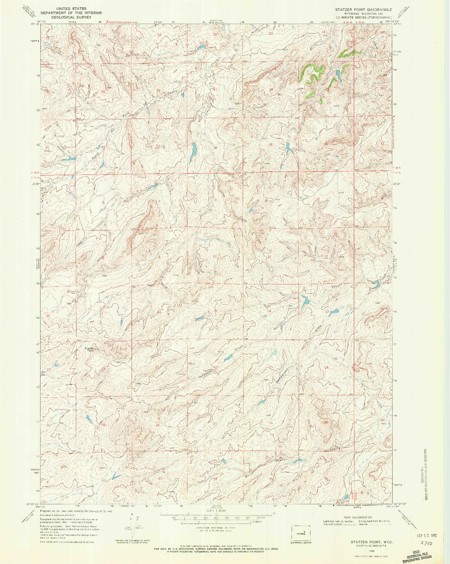 USGS 1:24000-SCALE QUADRANGLE FOR STATZER POINT, WY 1968