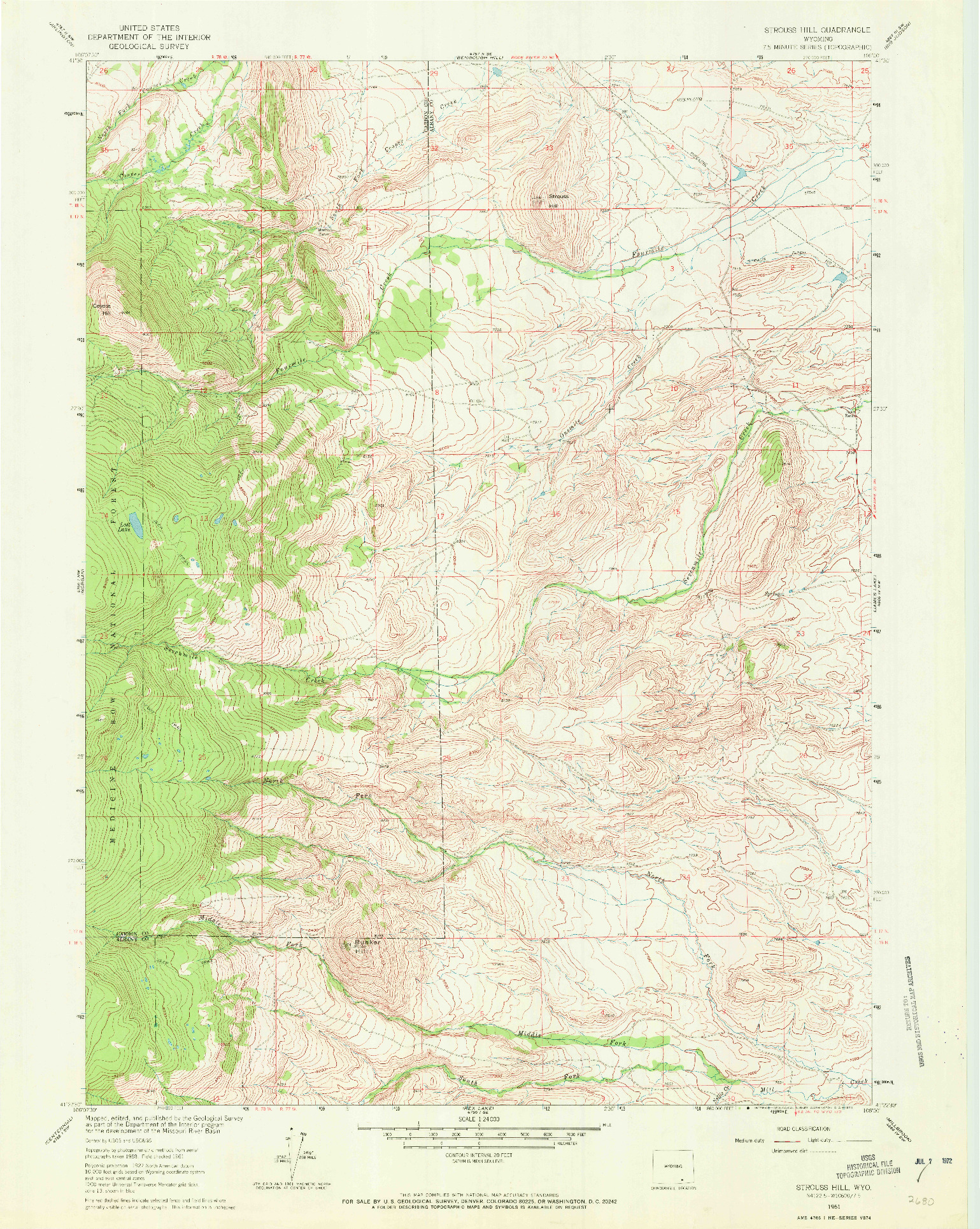USGS 1:24000-SCALE QUADRANGLE FOR STROUSS HILL, WY 1961