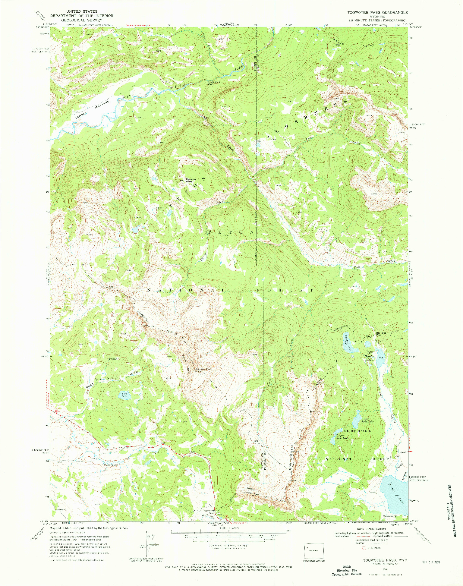 USGS 1:24000-SCALE QUADRANGLE FOR TOGWOTEE PASS, WY 1965