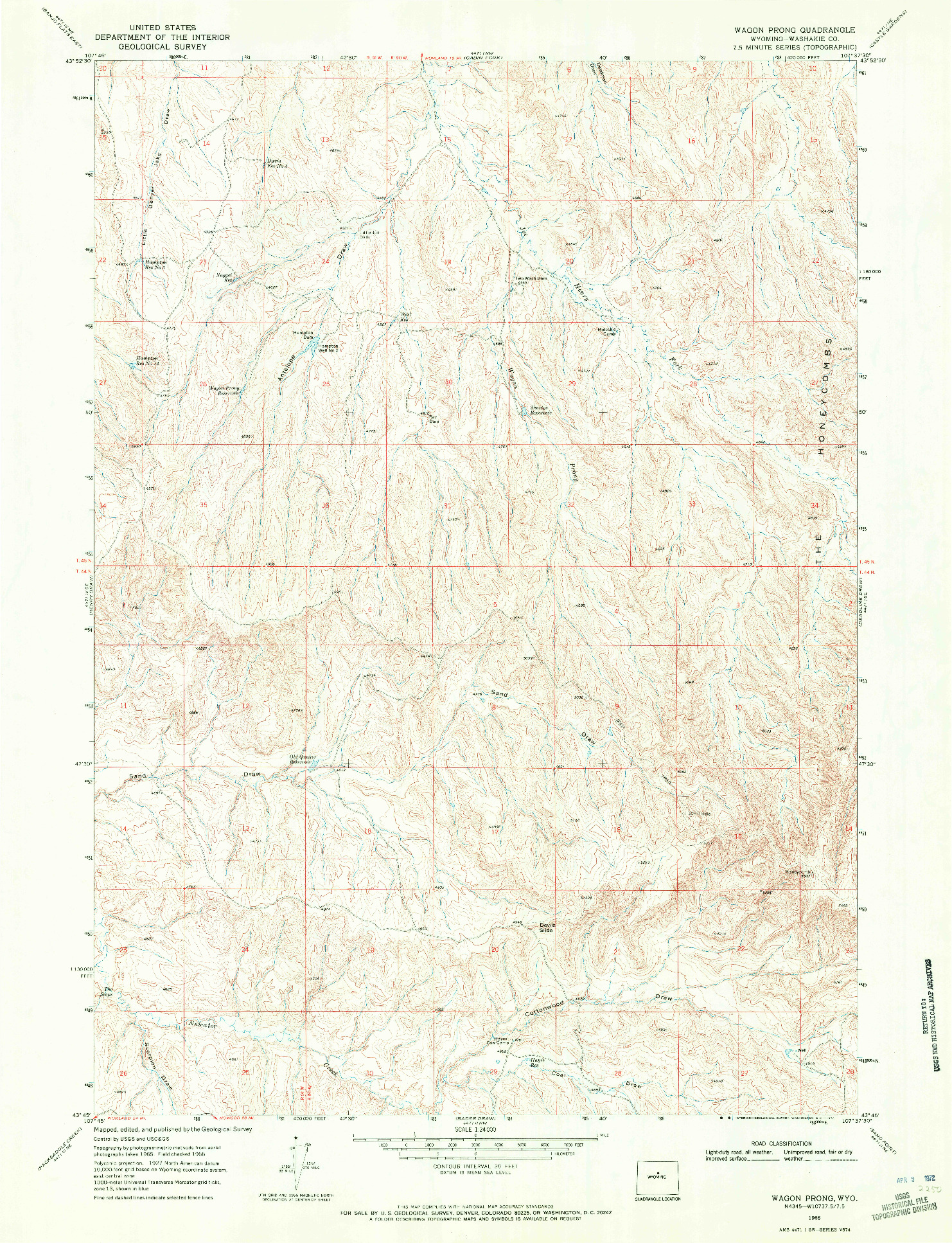 USGS 1:24000-SCALE QUADRANGLE FOR WAGON PRONG, WY 1966