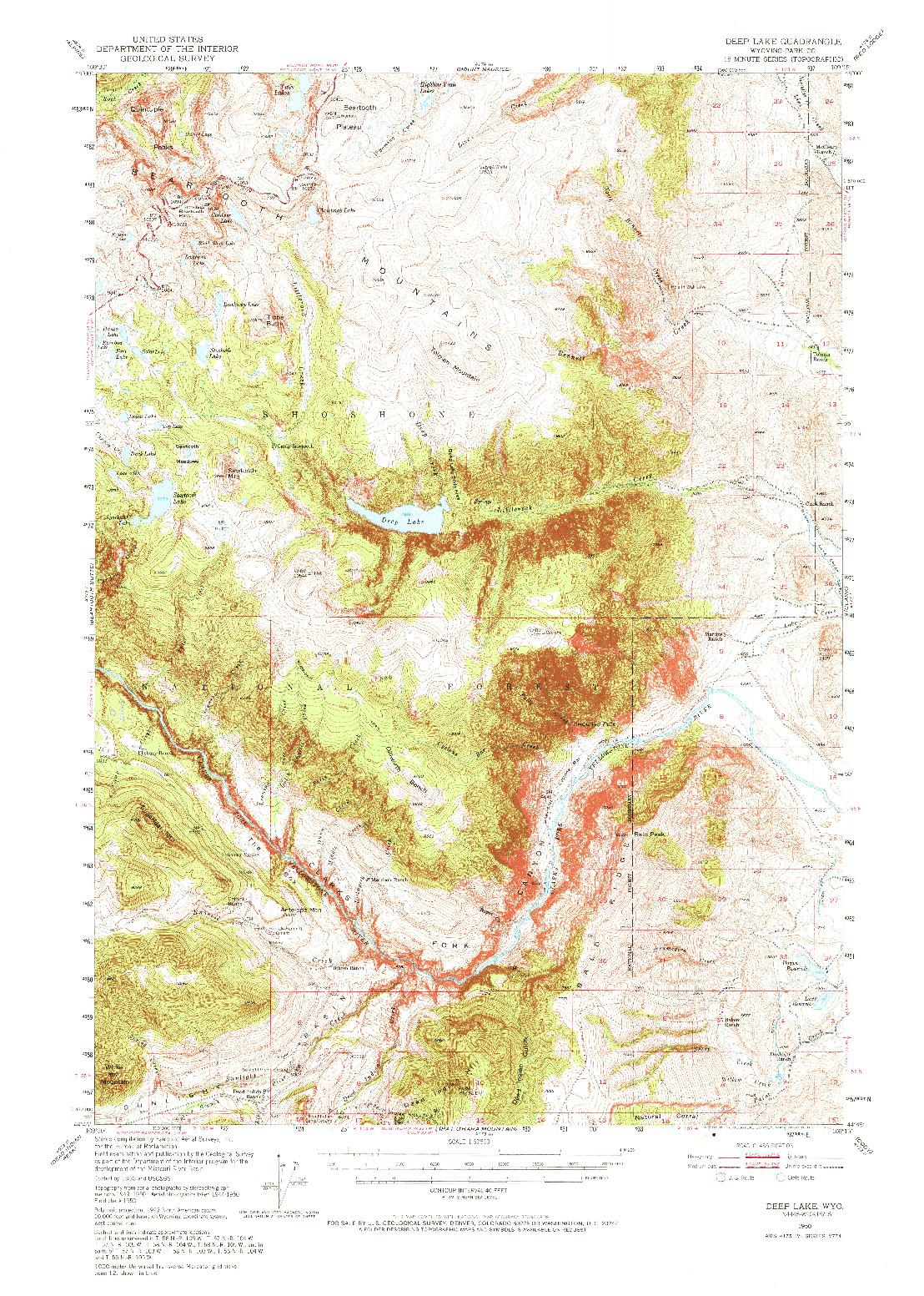 USGS 1:62500-SCALE QUADRANGLE FOR DEEP LAKE, WY 1950