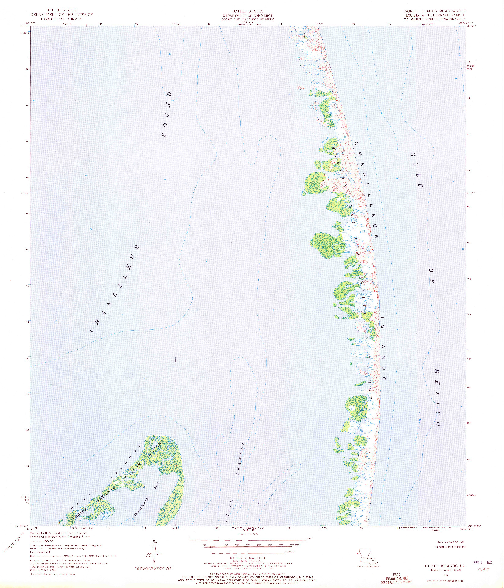 USGS 1:24000-SCALE QUADRANGLE FOR NORTH ISLANDS, LA 1951