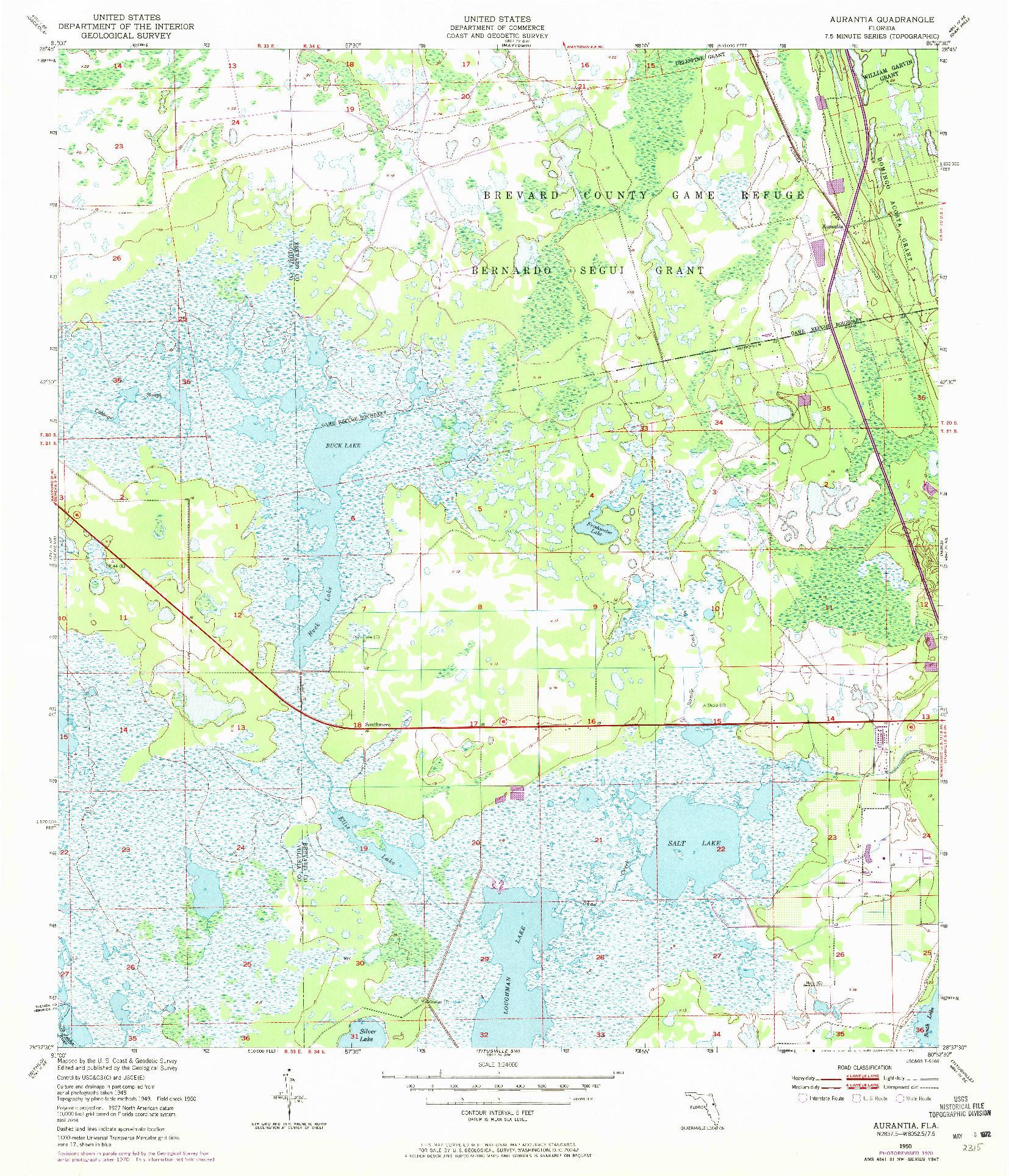 USGS 1:24000-SCALE QUADRANGLE FOR AURANTIA, FL 1950