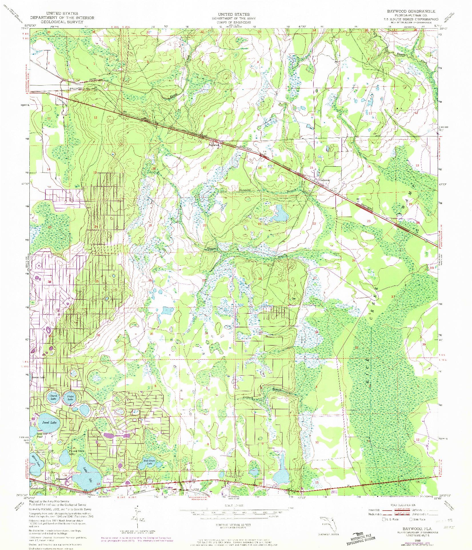 USGS 1:24000-SCALE QUADRANGLE FOR BAYWOOD, FL 1949