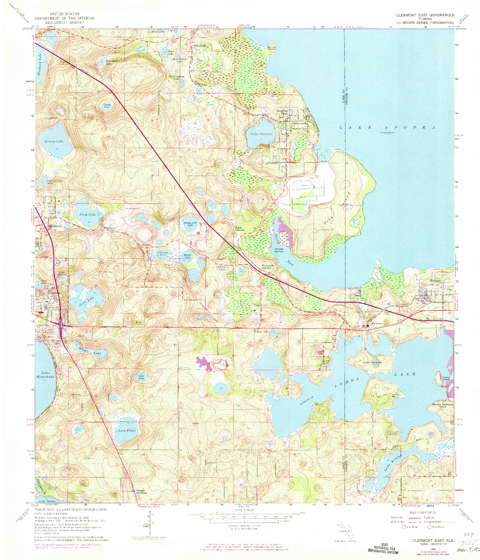 USGS 1:24000-SCALE QUADRANGLE FOR CLERMONT EAST, FL 1962