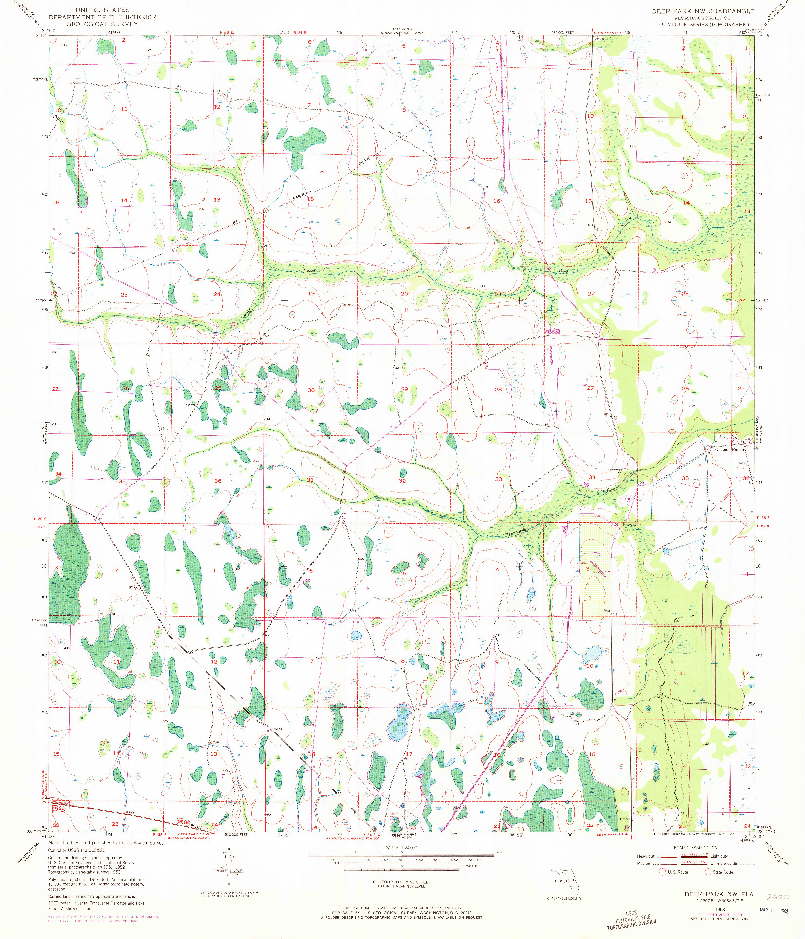 USGS 1:24000-SCALE QUADRANGLE FOR DEER PARK NW, FL 1953