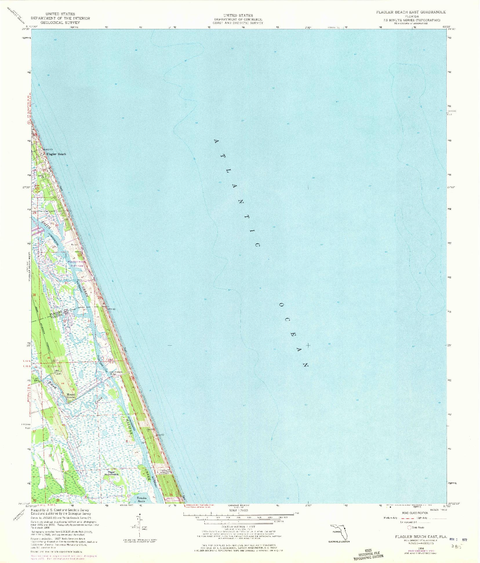 USGS 1:24000-SCALE QUADRANGLE FOR FLAGLER BEACH EAST, FL 1956