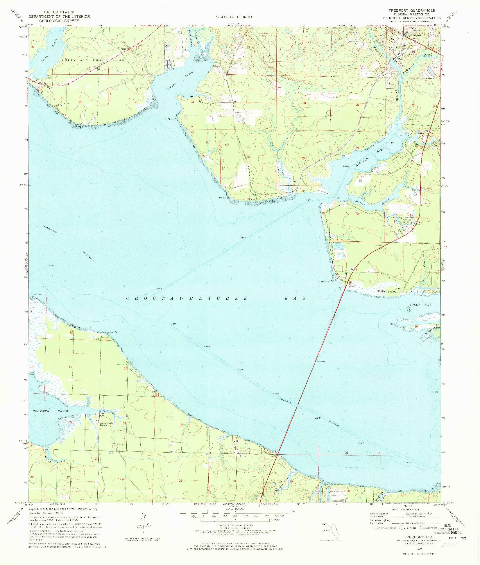 USGS 1:24000-SCALE QUADRANGLE FOR FREEPORT, FL 1970