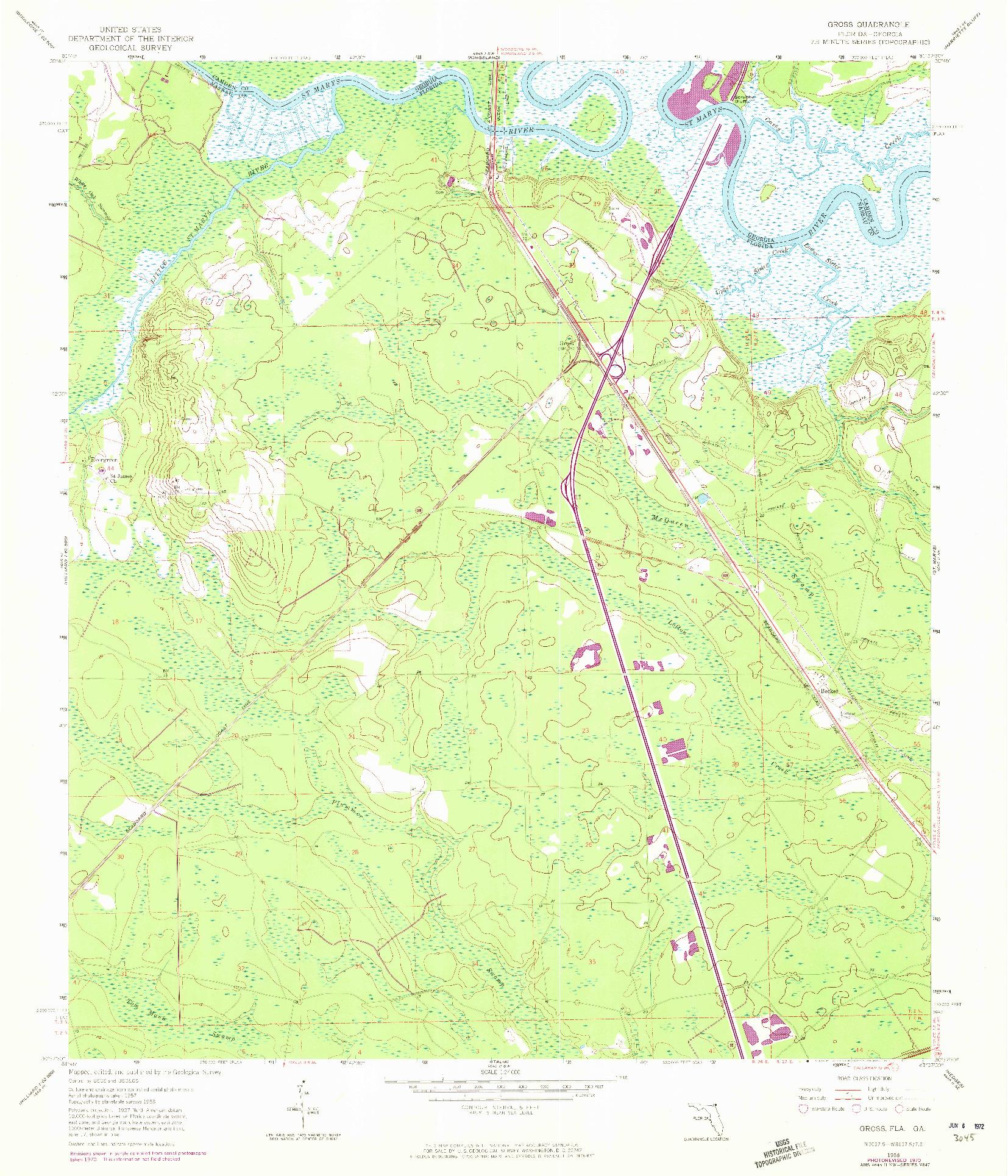USGS 1:24000-SCALE QUADRANGLE FOR GROSS, FL 1958