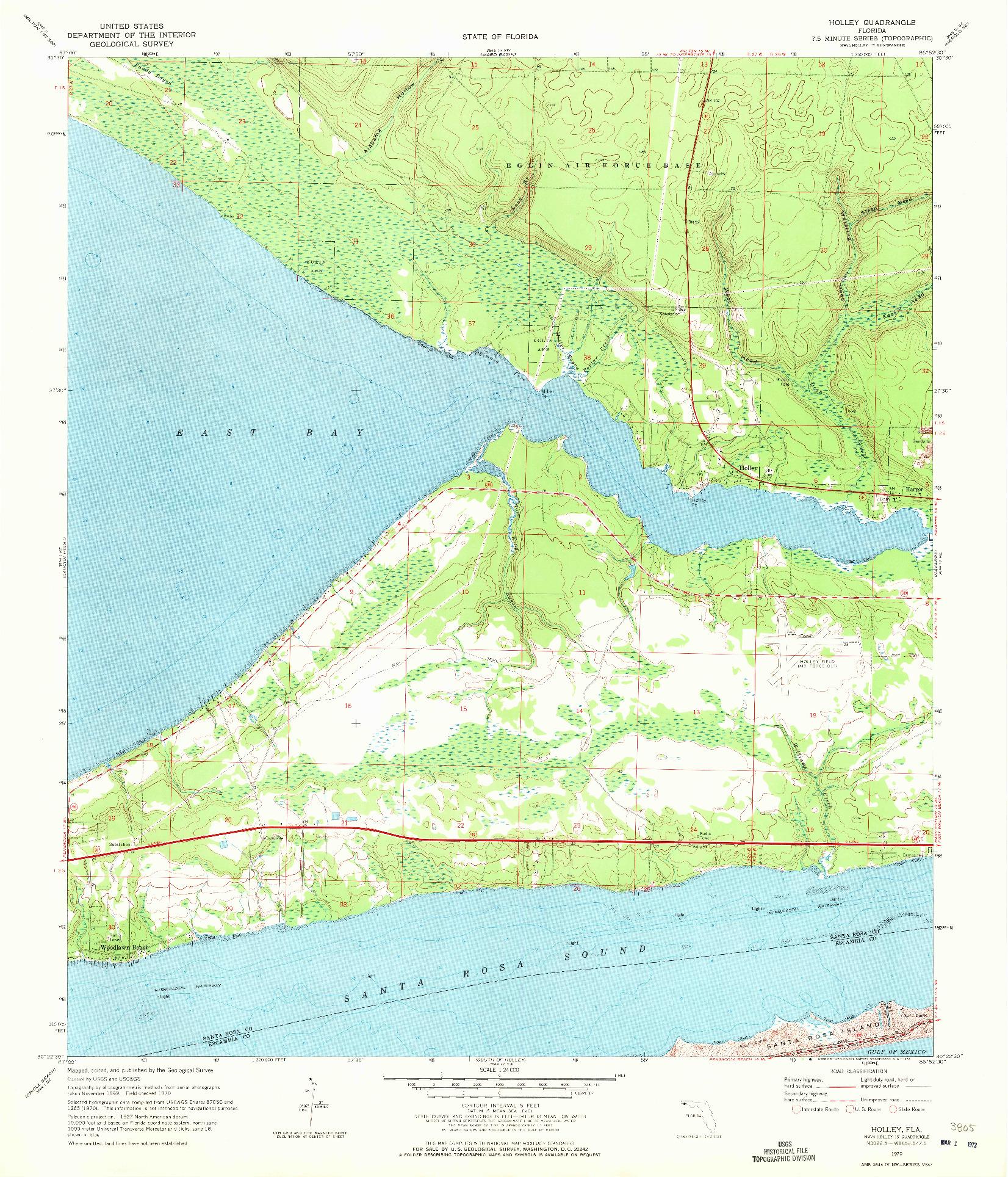USGS 1:24000-SCALE QUADRANGLE FOR HOLLEY, FL 1970