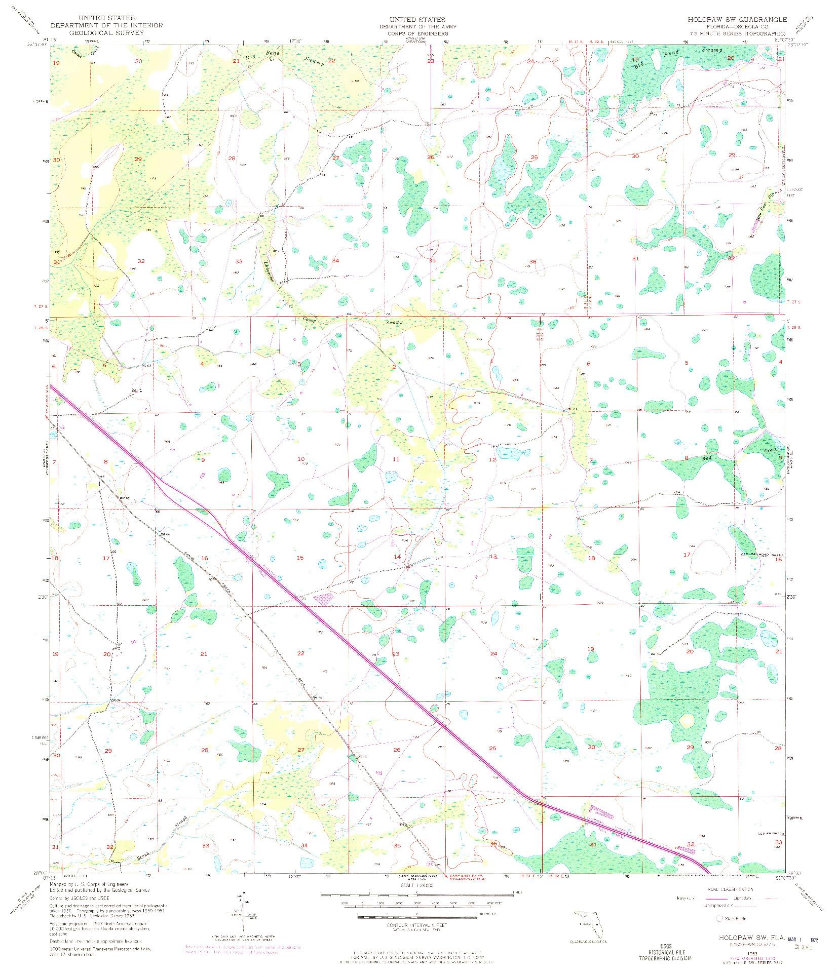 USGS 1:24000-SCALE QUADRANGLE FOR HOLOPAW SW, FL 1953