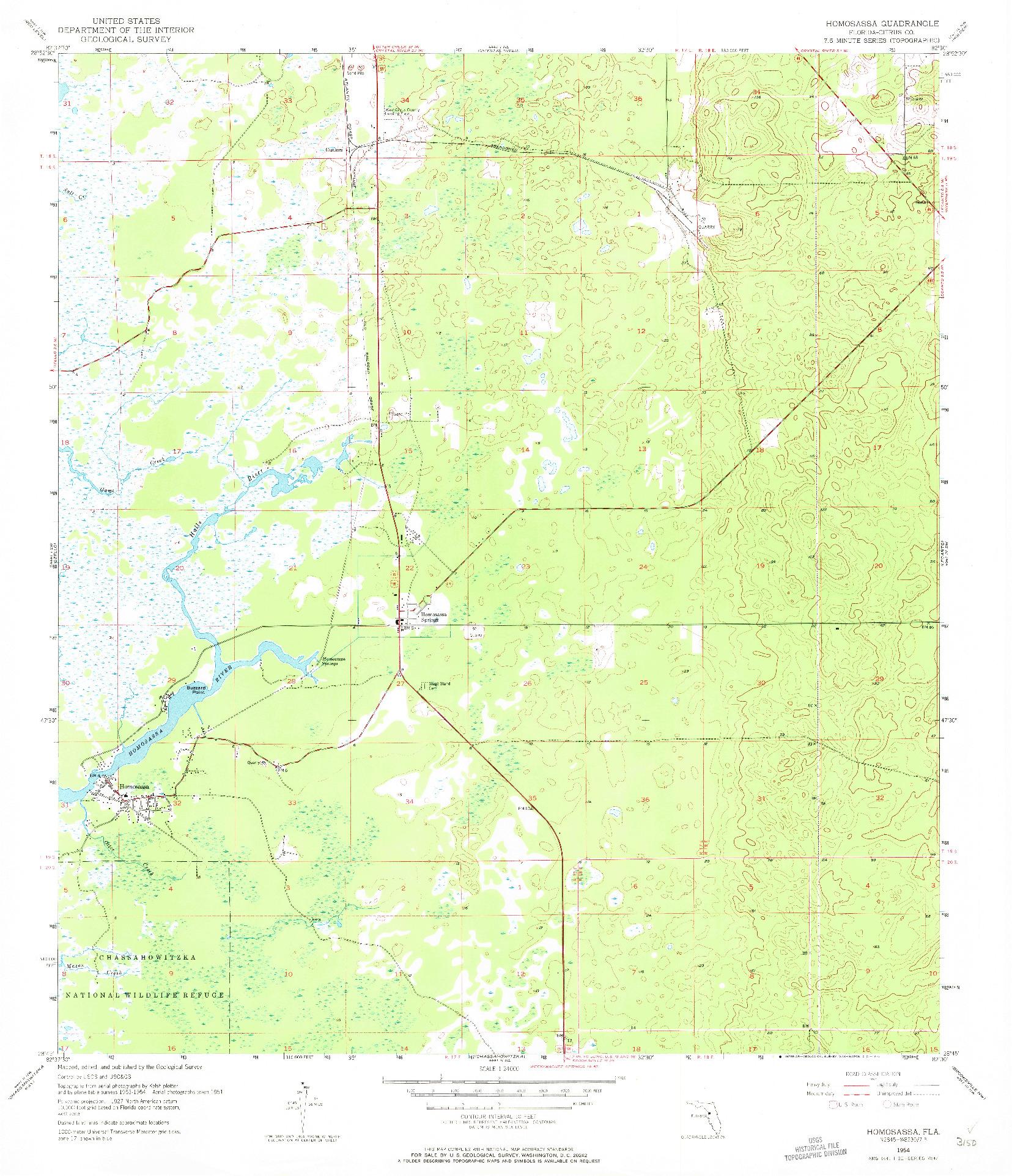 USGS 1:24000-SCALE QUADRANGLE FOR HOMOSASSA, FL 1954