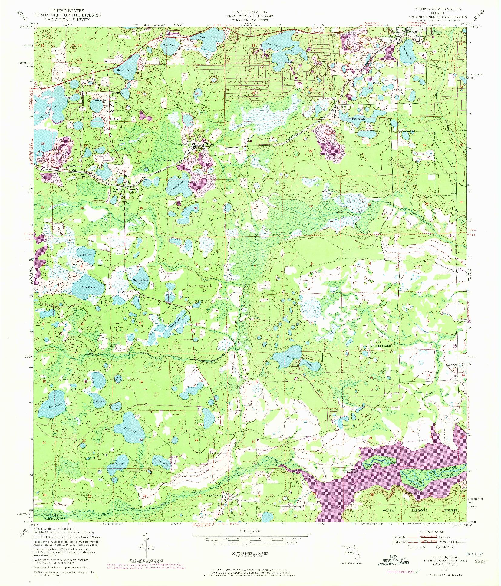 USGS 1:24000-SCALE QUADRANGLE FOR KEUKA, FL 1949