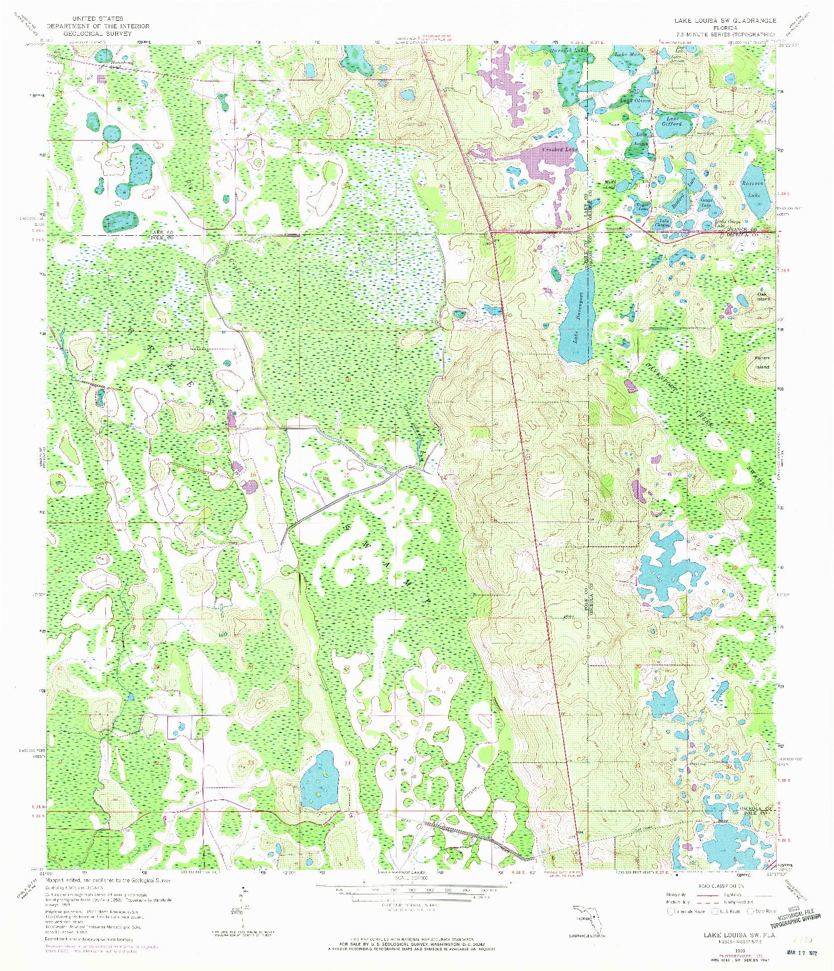USGS 1:24000-SCALE QUADRANGLE FOR LAKE LOUISA SW, FL 1959