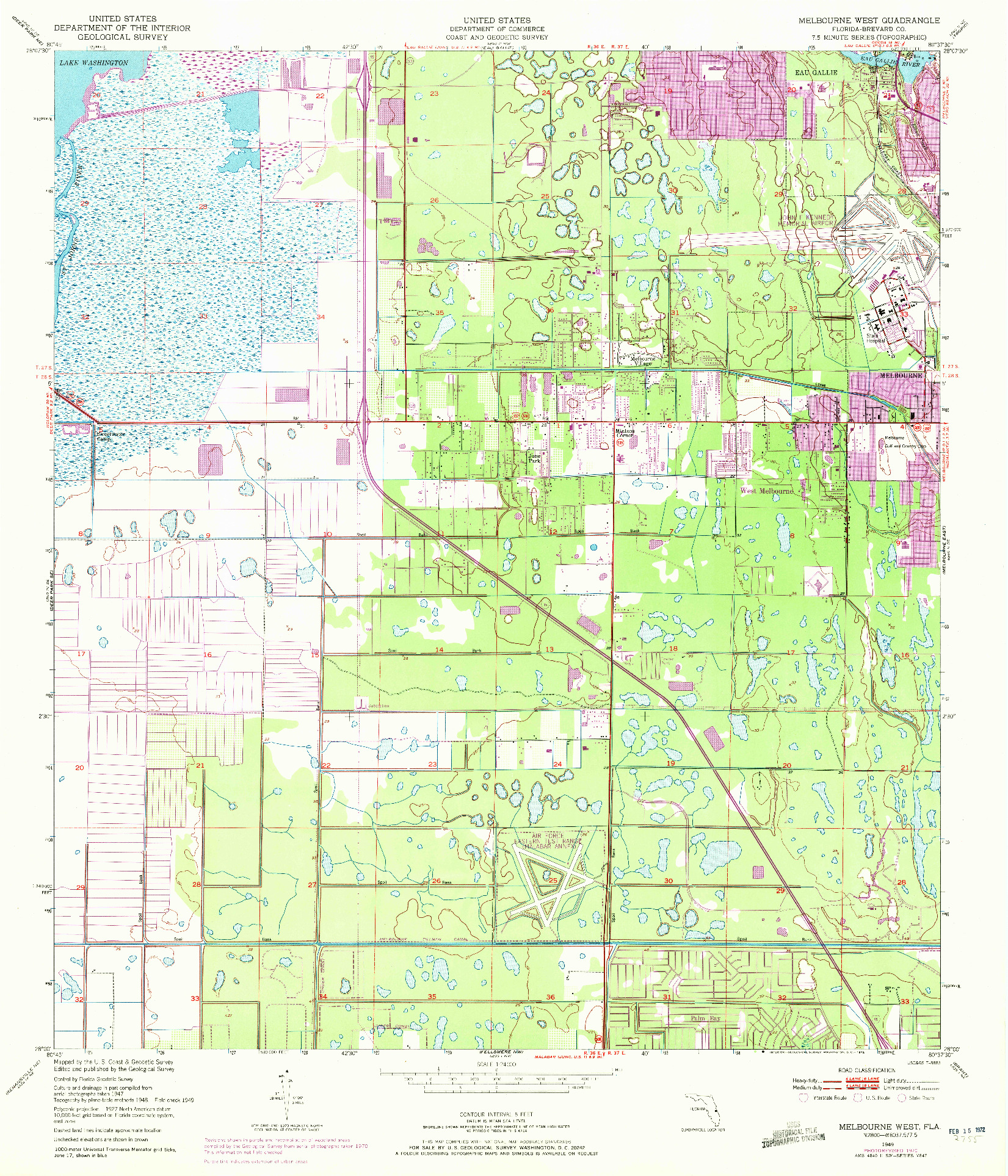USGS 1:24000-SCALE QUADRANGLE FOR MELBOURNE WEST, FL 1949