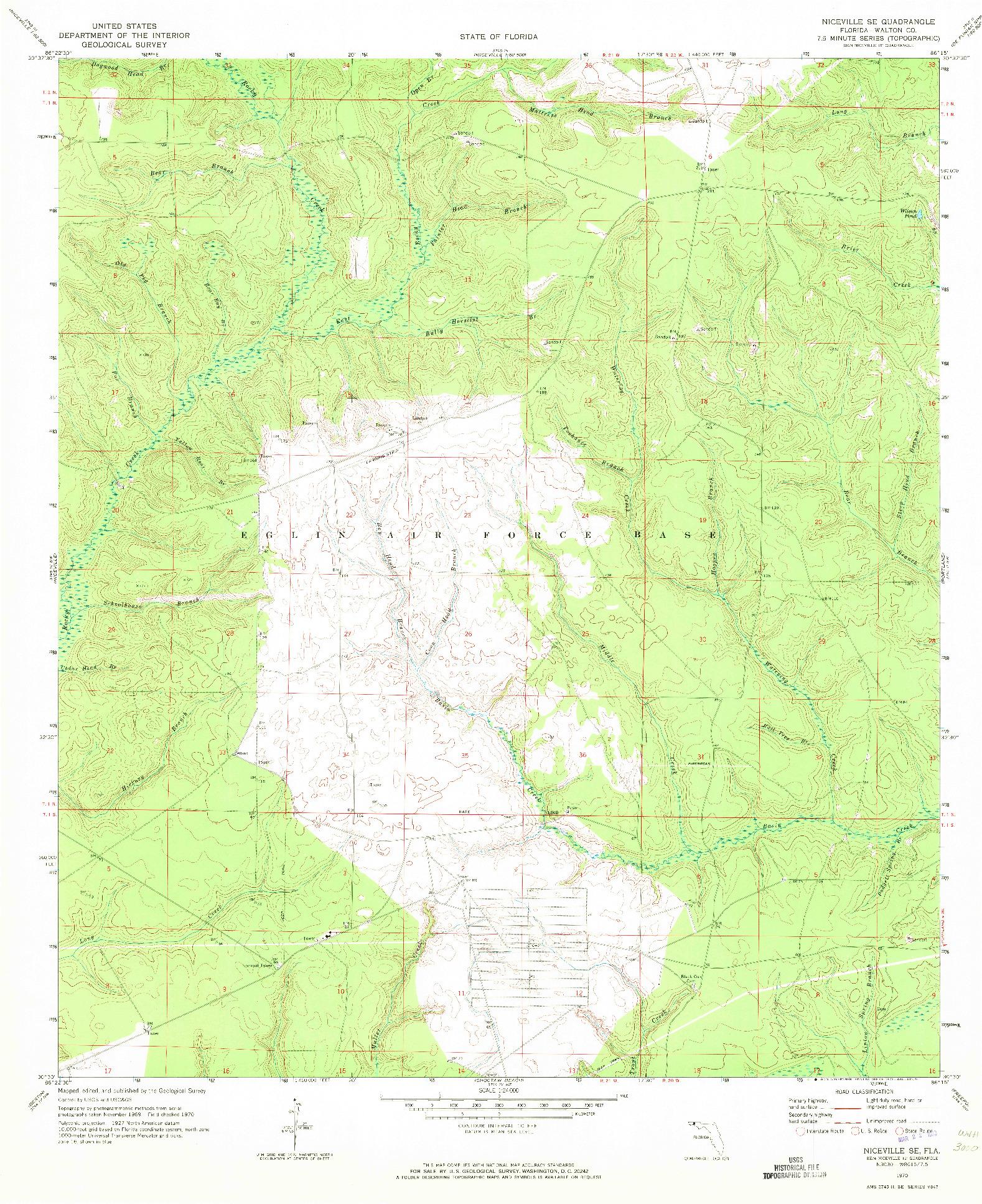 USGS 1:24000-SCALE QUADRANGLE FOR NICEVILLE SE, FL 1970