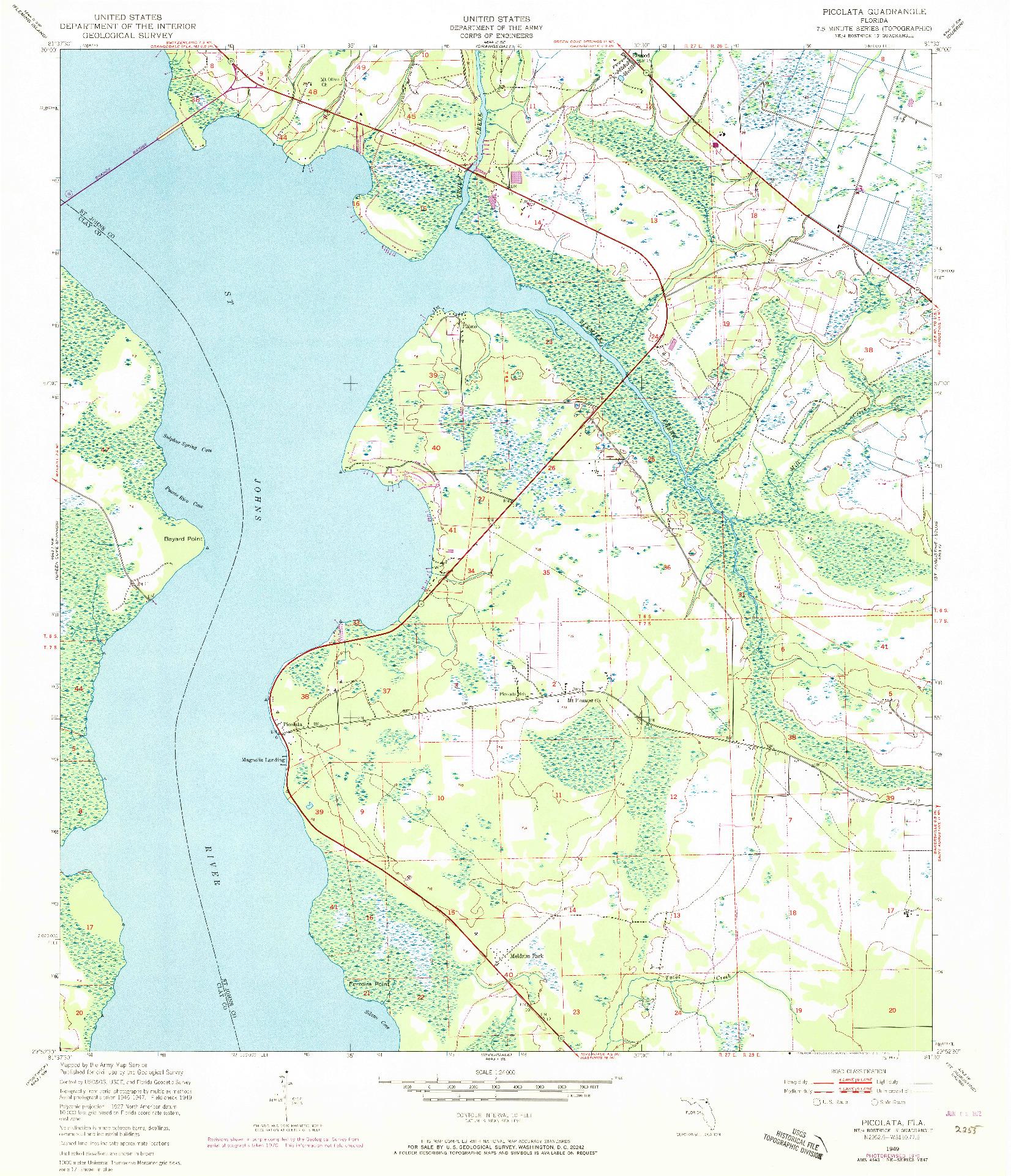 USGS 1:24000-SCALE QUADRANGLE FOR PICOLATA, FL 1949