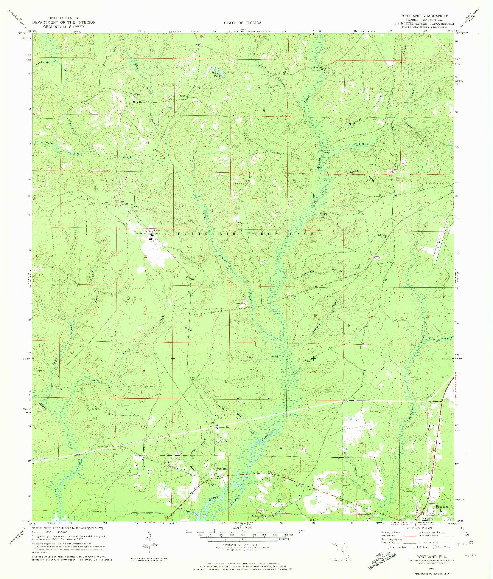 USGS 1:24000-SCALE QUADRANGLE FOR PORTLAND, FL 1970
