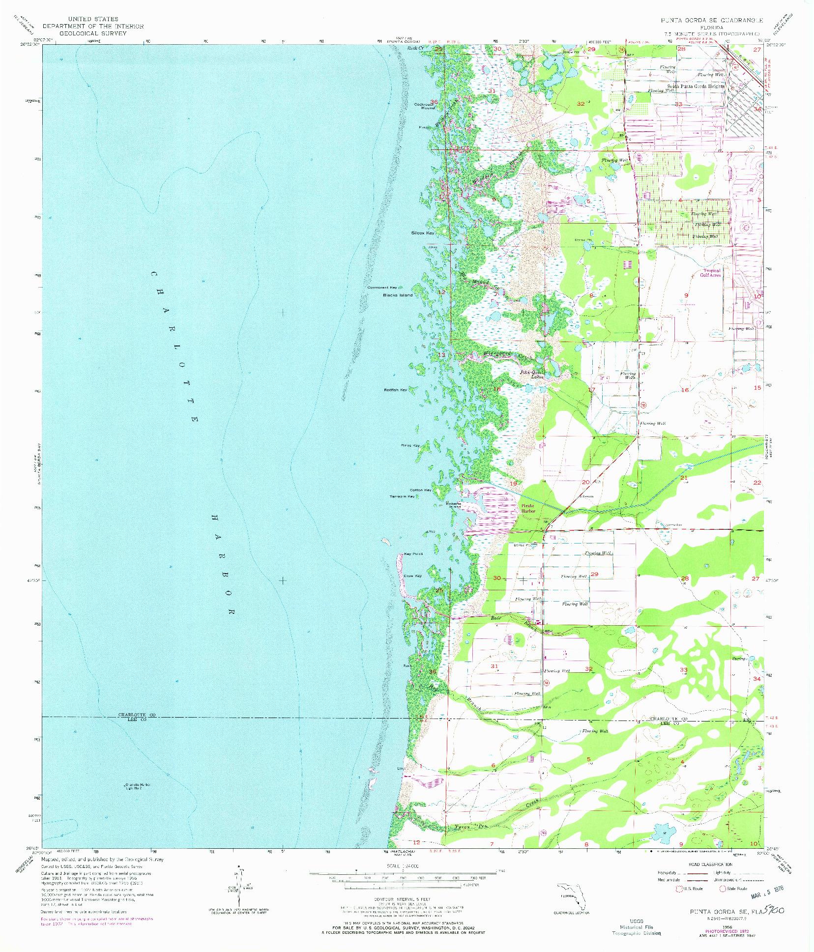USGS 1:24000-SCALE QUADRANGLE FOR PUNTA GORDA SE, FL 1956