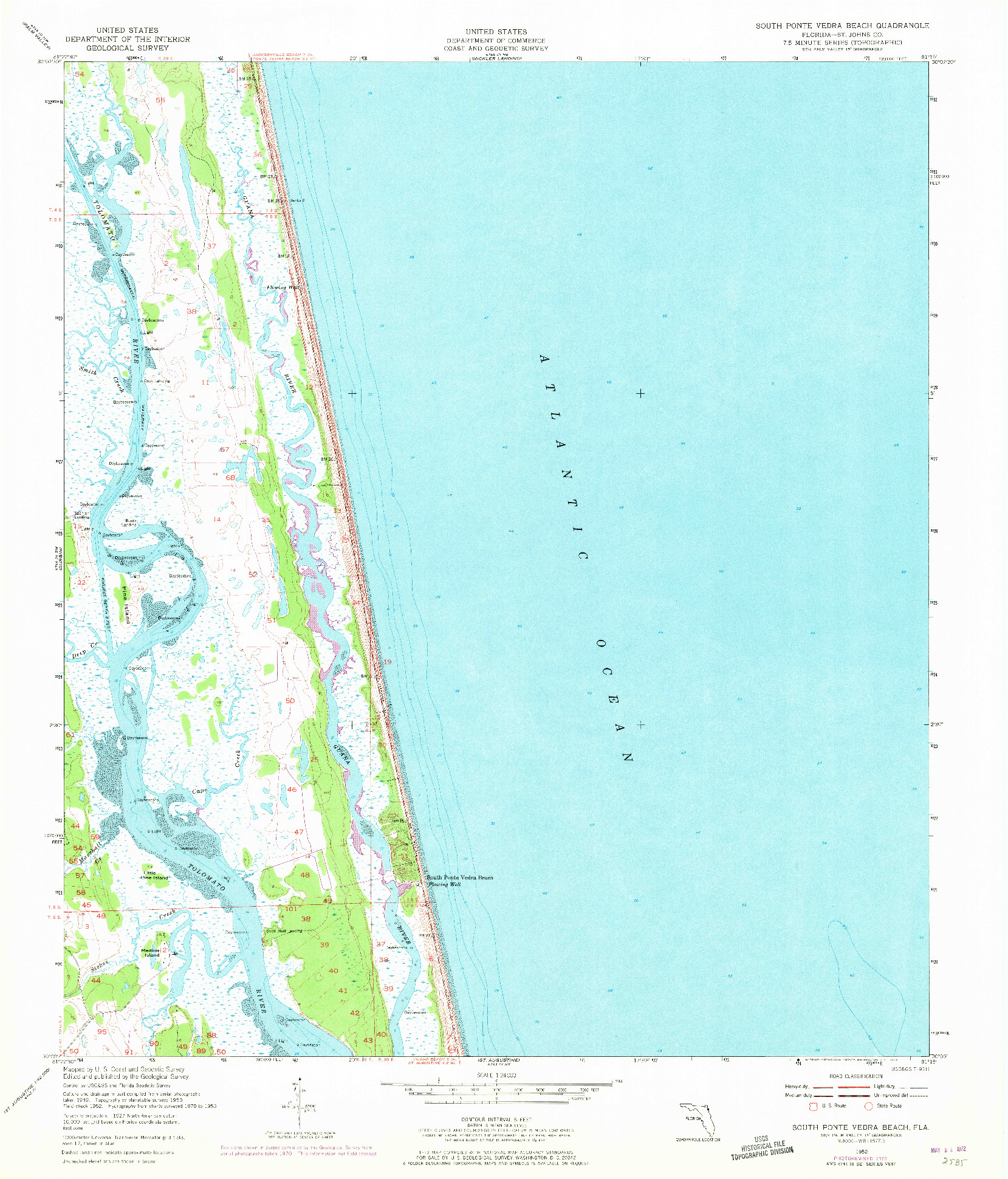 USGS 1:24000-SCALE QUADRANGLE FOR SOUTH PONTE VEDRA BEACH, FL 1952