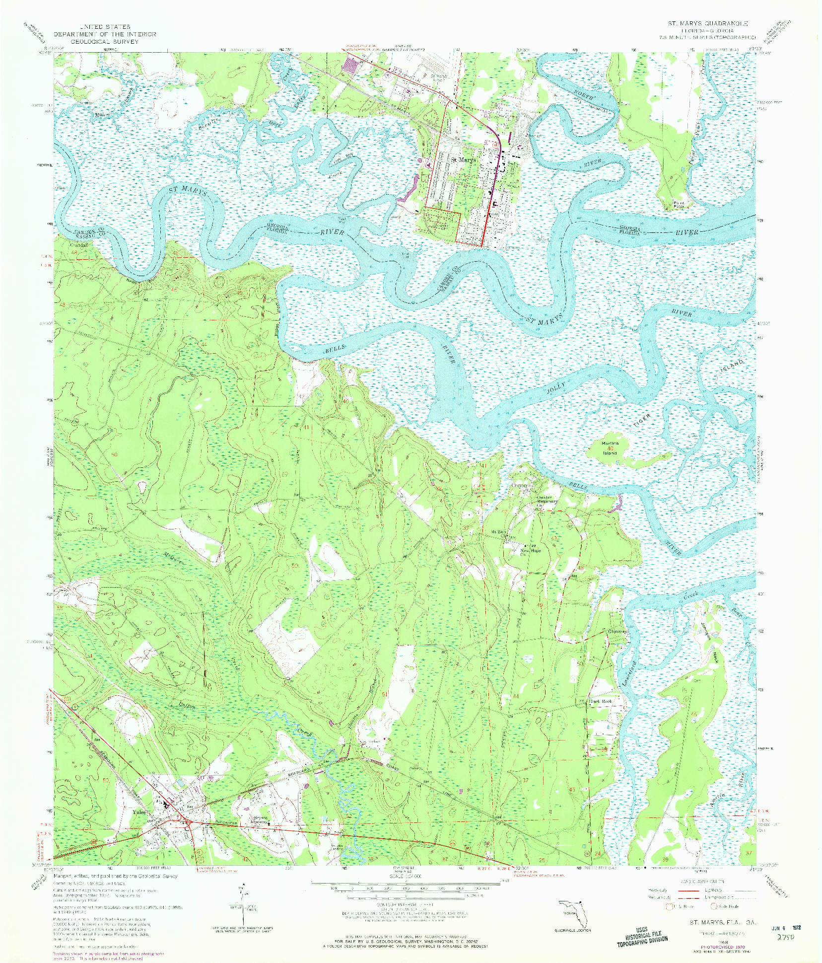 USGS 1:24000-SCALE QUADRANGLE FOR ST. MARYS, FL 1958