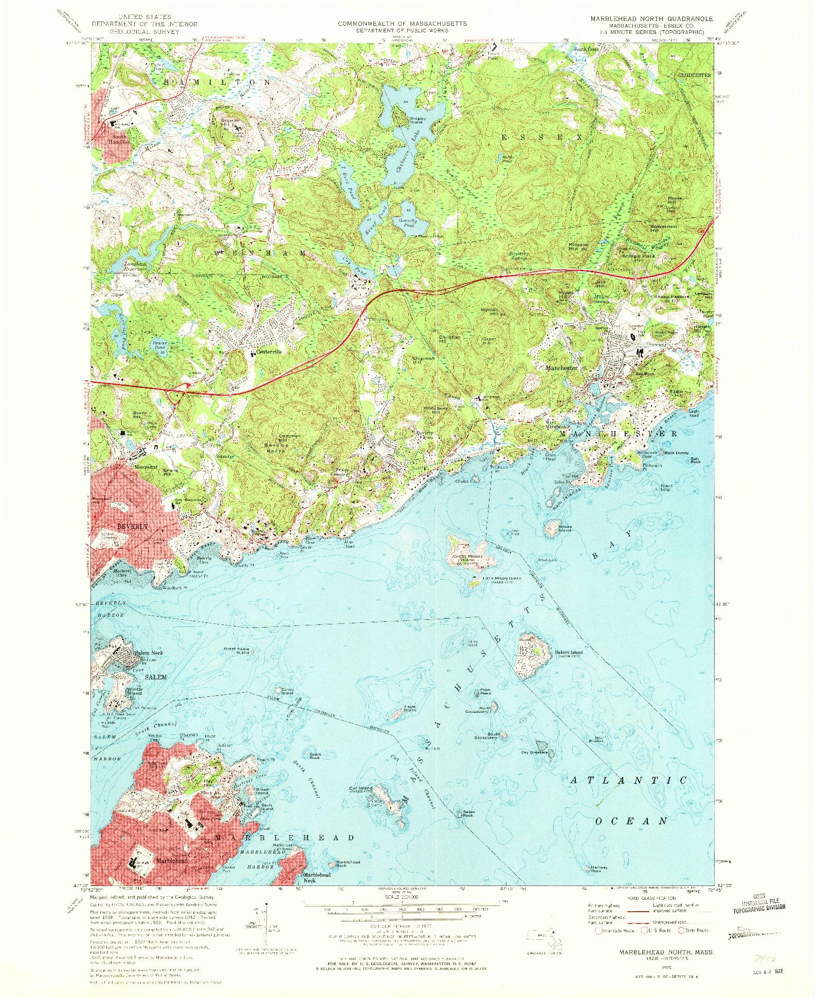 USGS 1:24000-SCALE QUADRANGLE FOR MARBLEHEAD NORTH, MA 1970