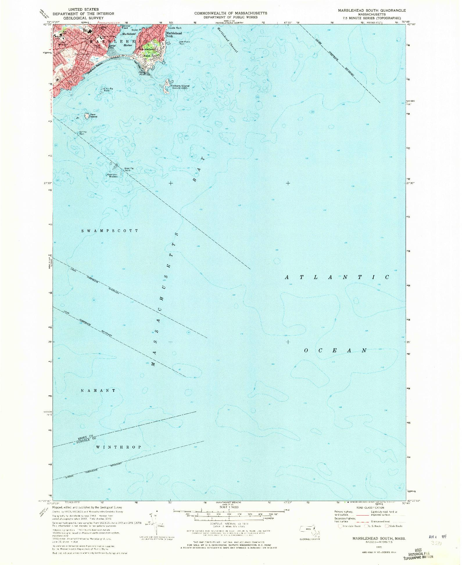 USGS 1:24000-SCALE QUADRANGLE FOR MARBLEHEAD SOUTH, MA 1970