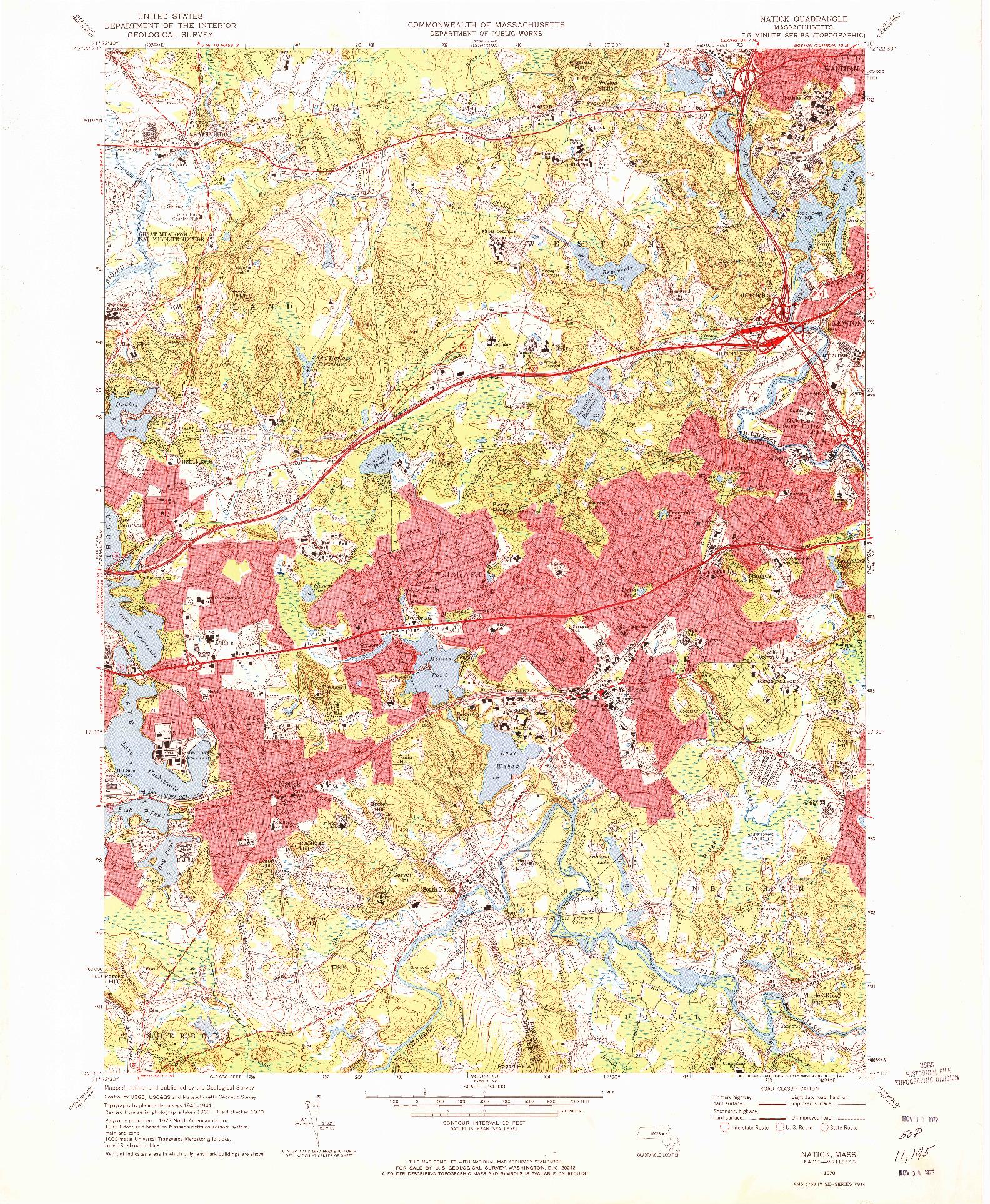 USGS 1:24000-SCALE QUADRANGLE FOR NATICK, MA 1970