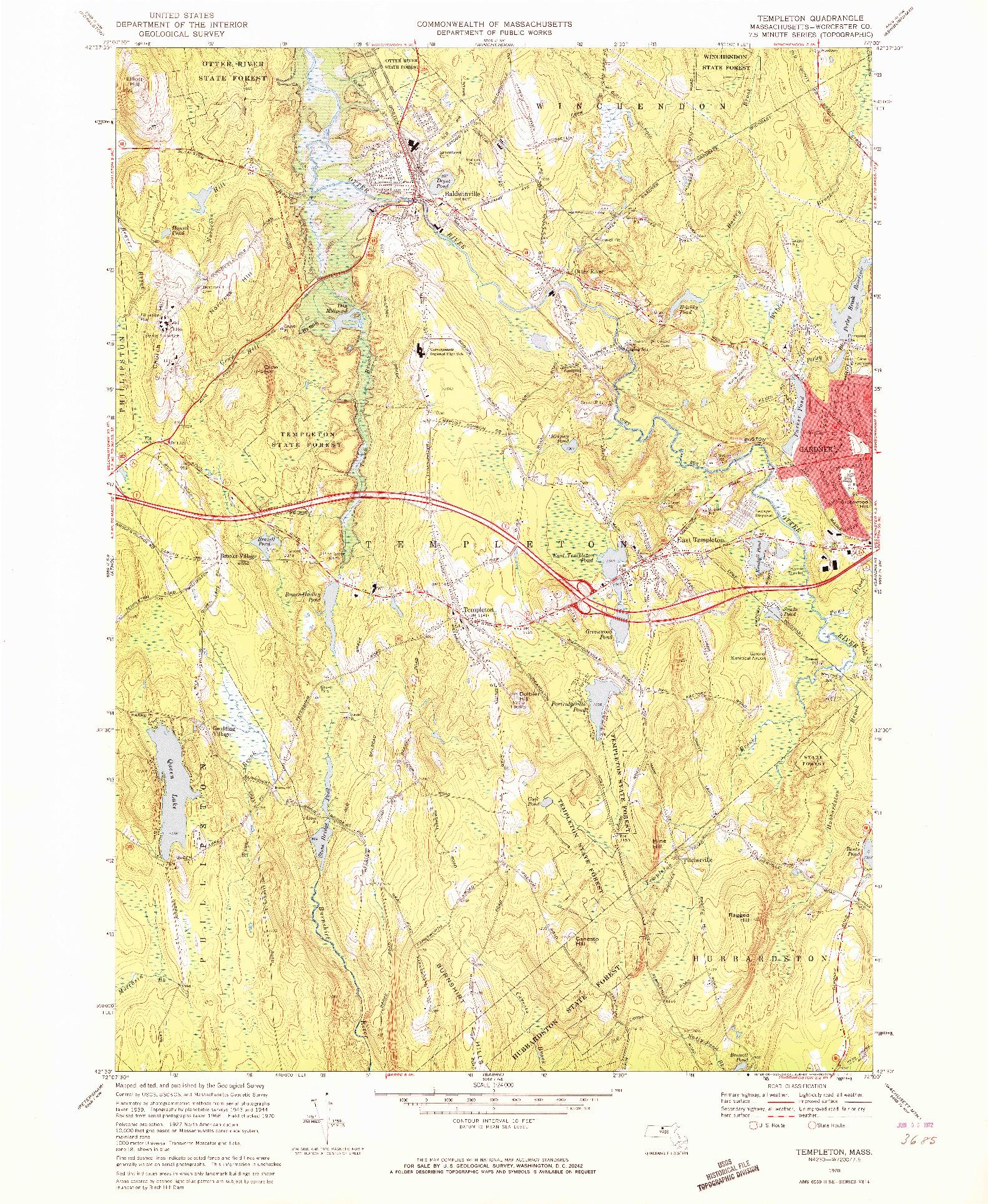 USGS 1:24000-SCALE QUADRANGLE FOR TEMPLETON, MA 1970