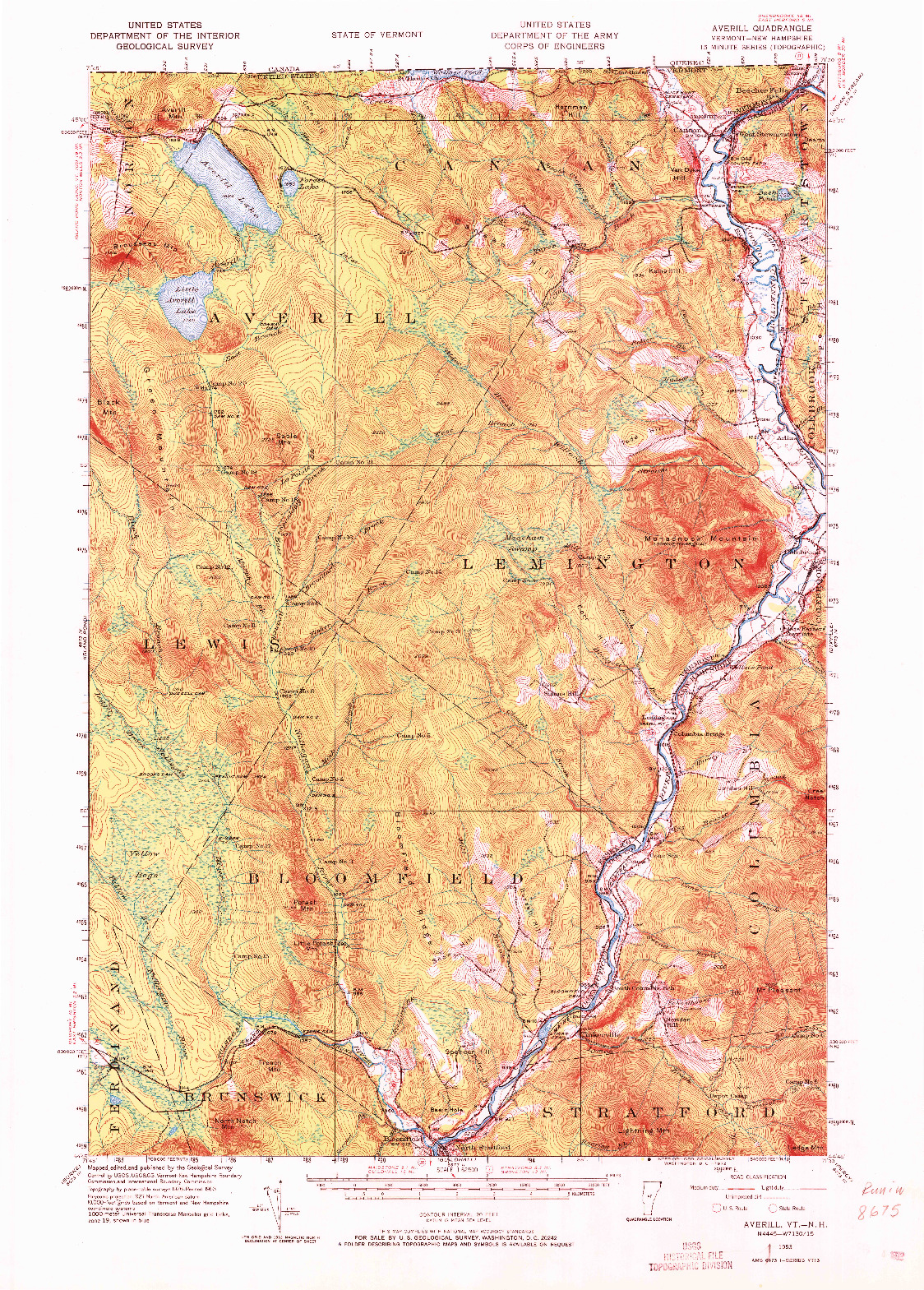 USGS 1:62500-SCALE QUADRANGLE FOR AVERILL, VT 1953
