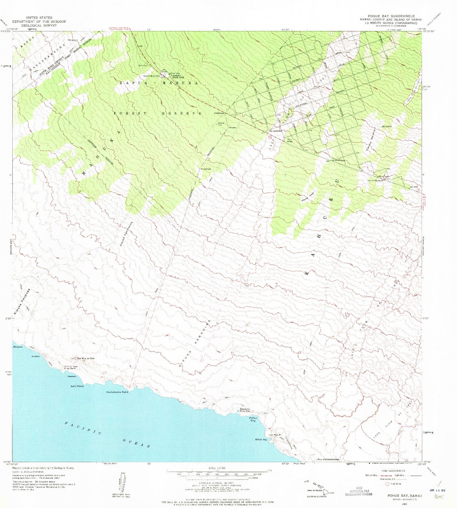 USGS 1:24000-SCALE QUADRANGLE FOR POHUE BAY, HI 1962