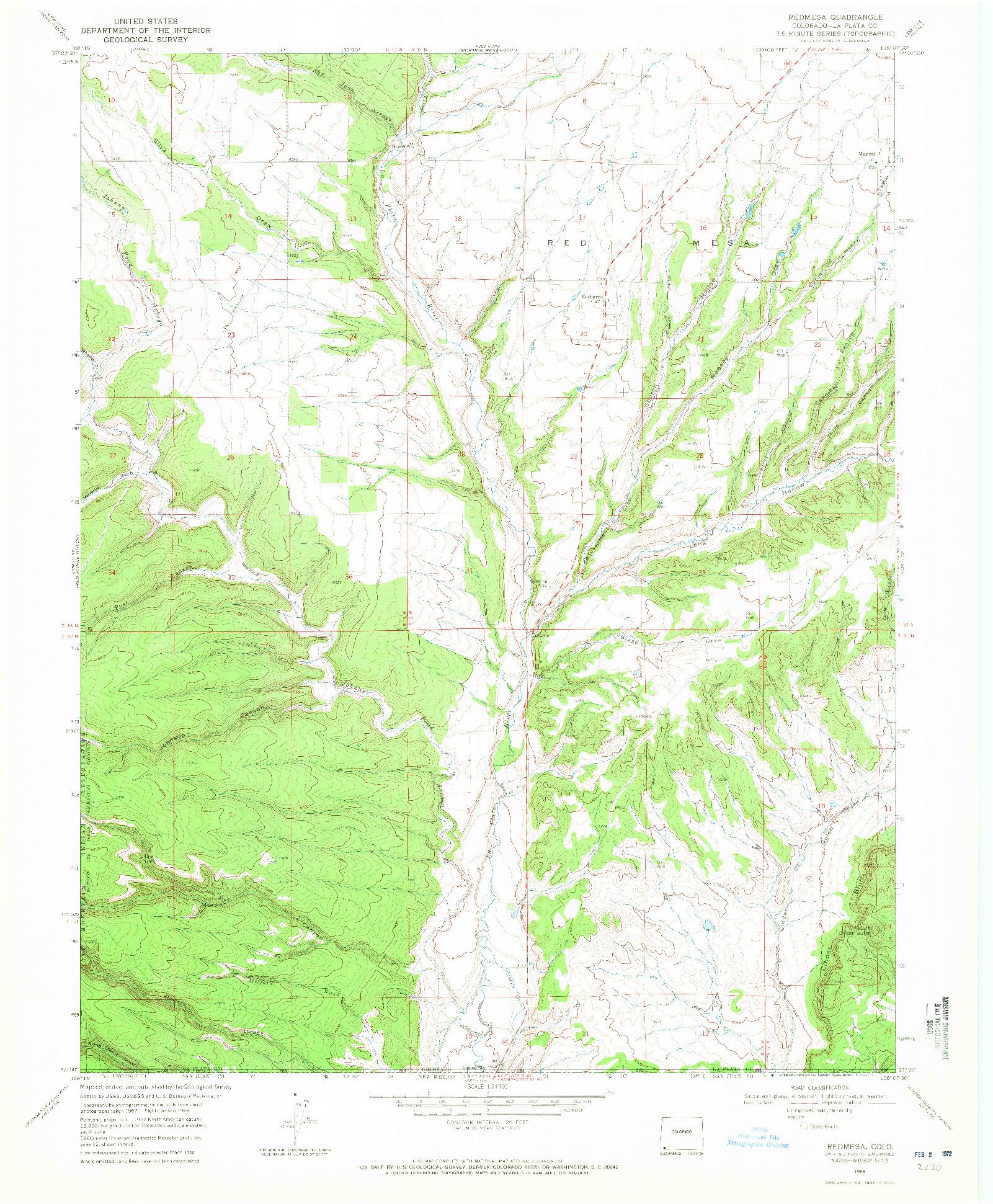 USGS 1:24000-SCALE QUADRANGLE FOR REDMESA, CO 1968