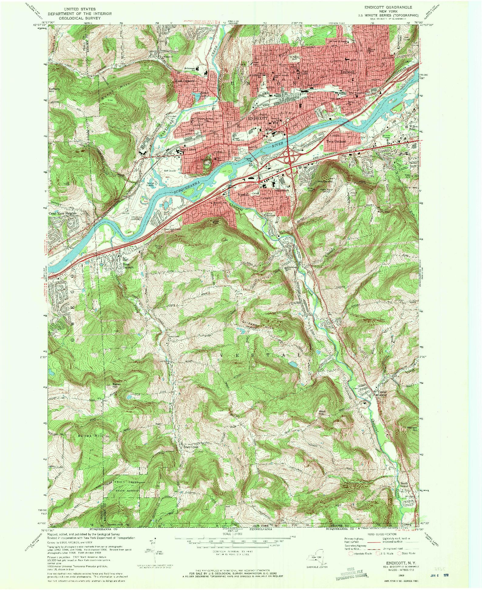 USGS 1:24000-SCALE QUADRANGLE FOR ENDICOTT, NY 1969