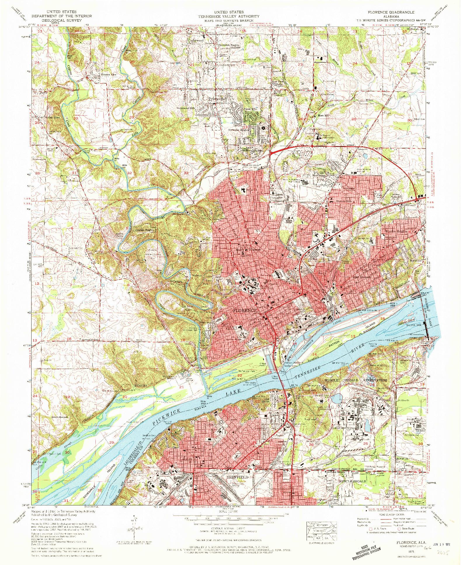 USGS 1:24000-SCALE QUADRANGLE FOR FLORENCE, AL 1971