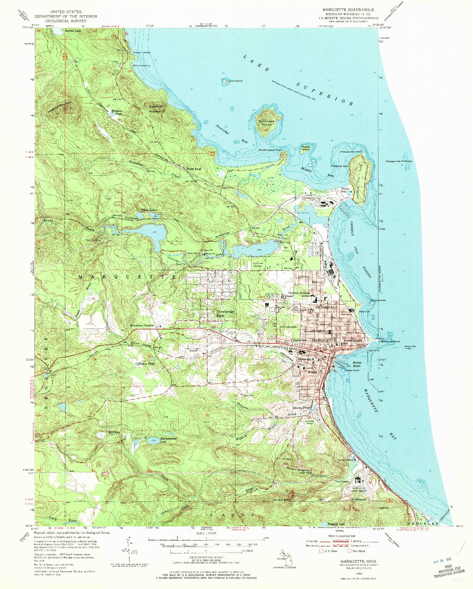 USGS 1:24000-SCALE QUADRANGLE FOR MARQUETTE, MI 1954