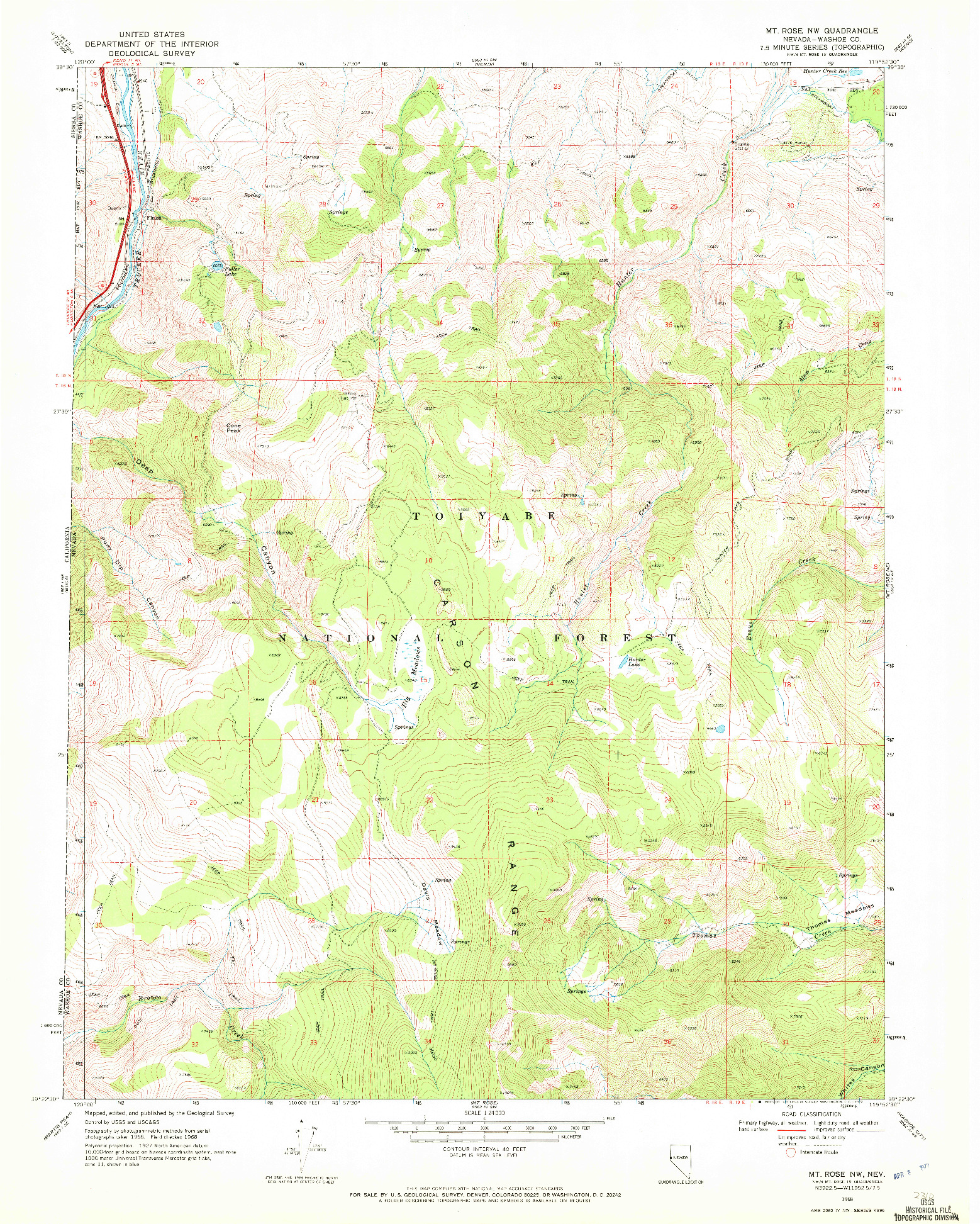 USGS 1:24000-SCALE QUADRANGLE FOR MT. ROSE NW, NV 1968