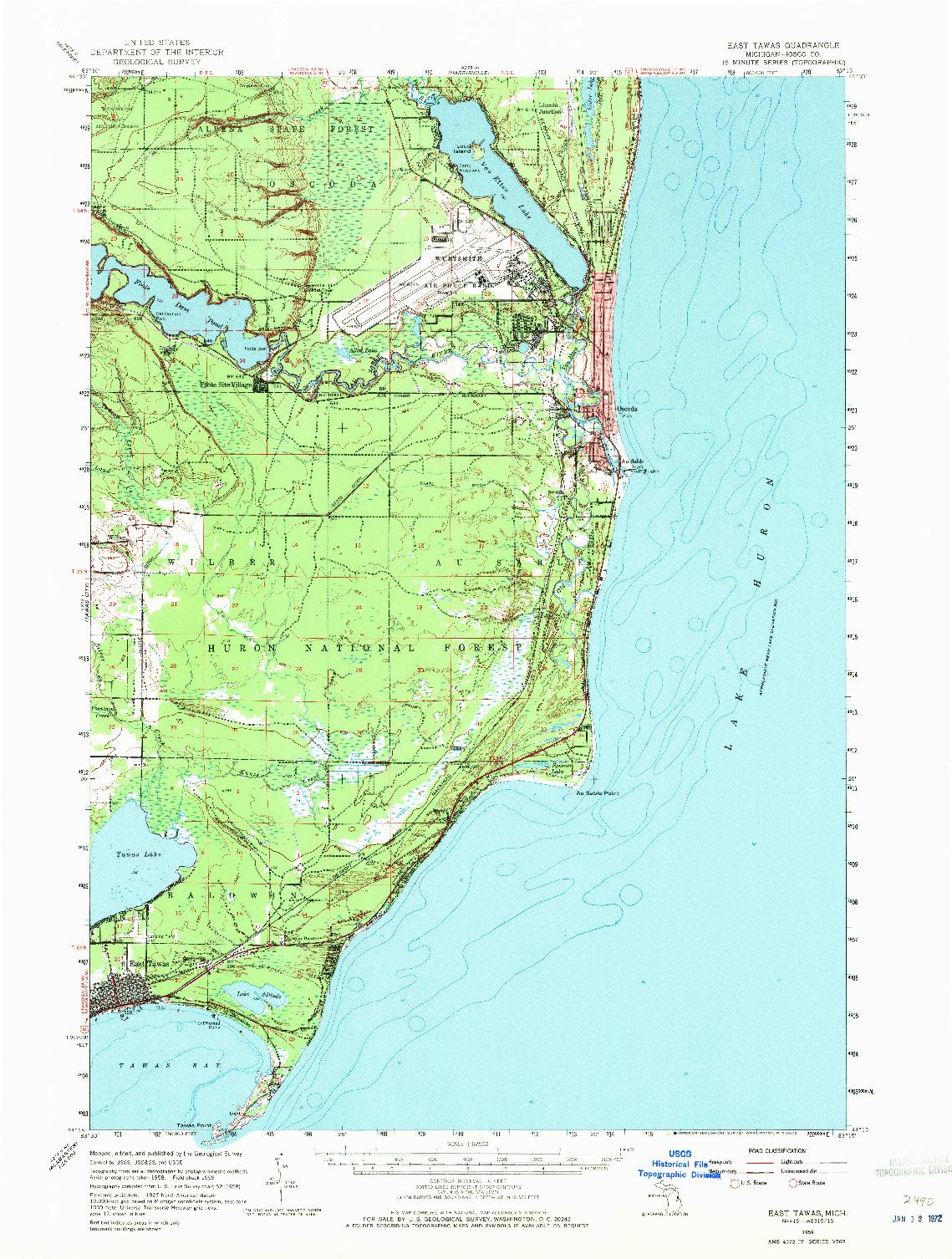 USGS 1:62500-SCALE QUADRANGLE FOR EAST TAWAS, MI 1959